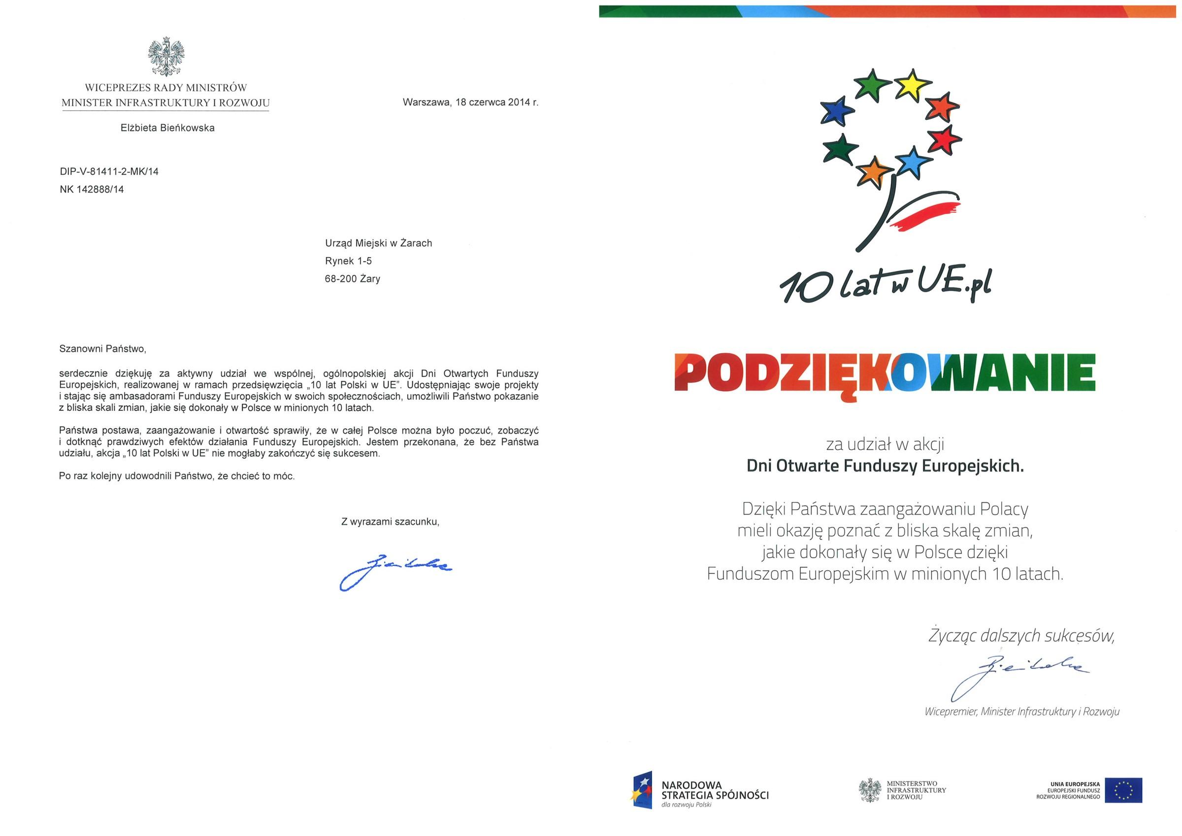 Ilustracja do informacji: Podziękowania od Wicepremier, Minister Infrastruktury i Rozwoju