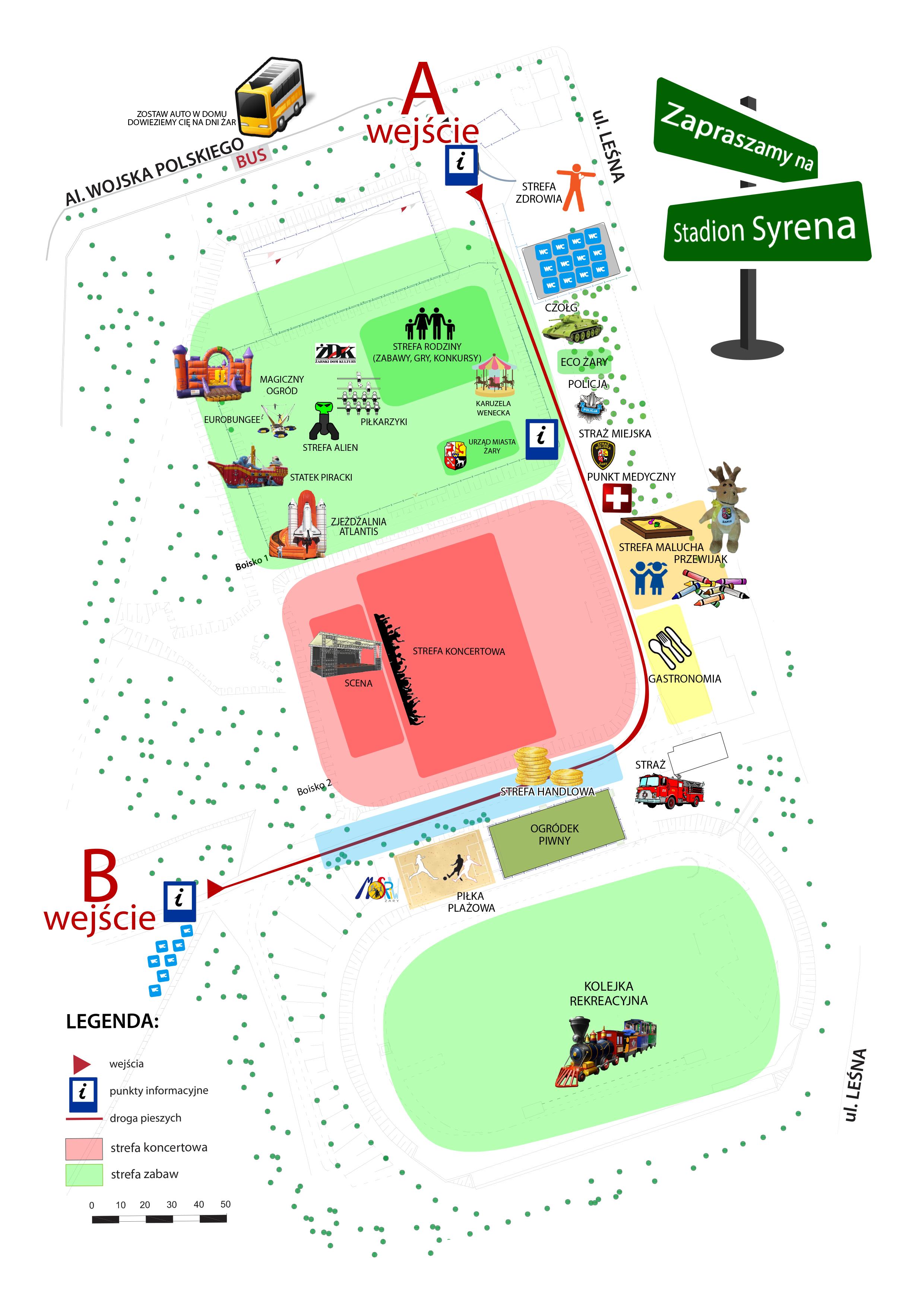 Ilustracja do informacji: Mapka atrakcji jakie czekają podczas Dni Żar