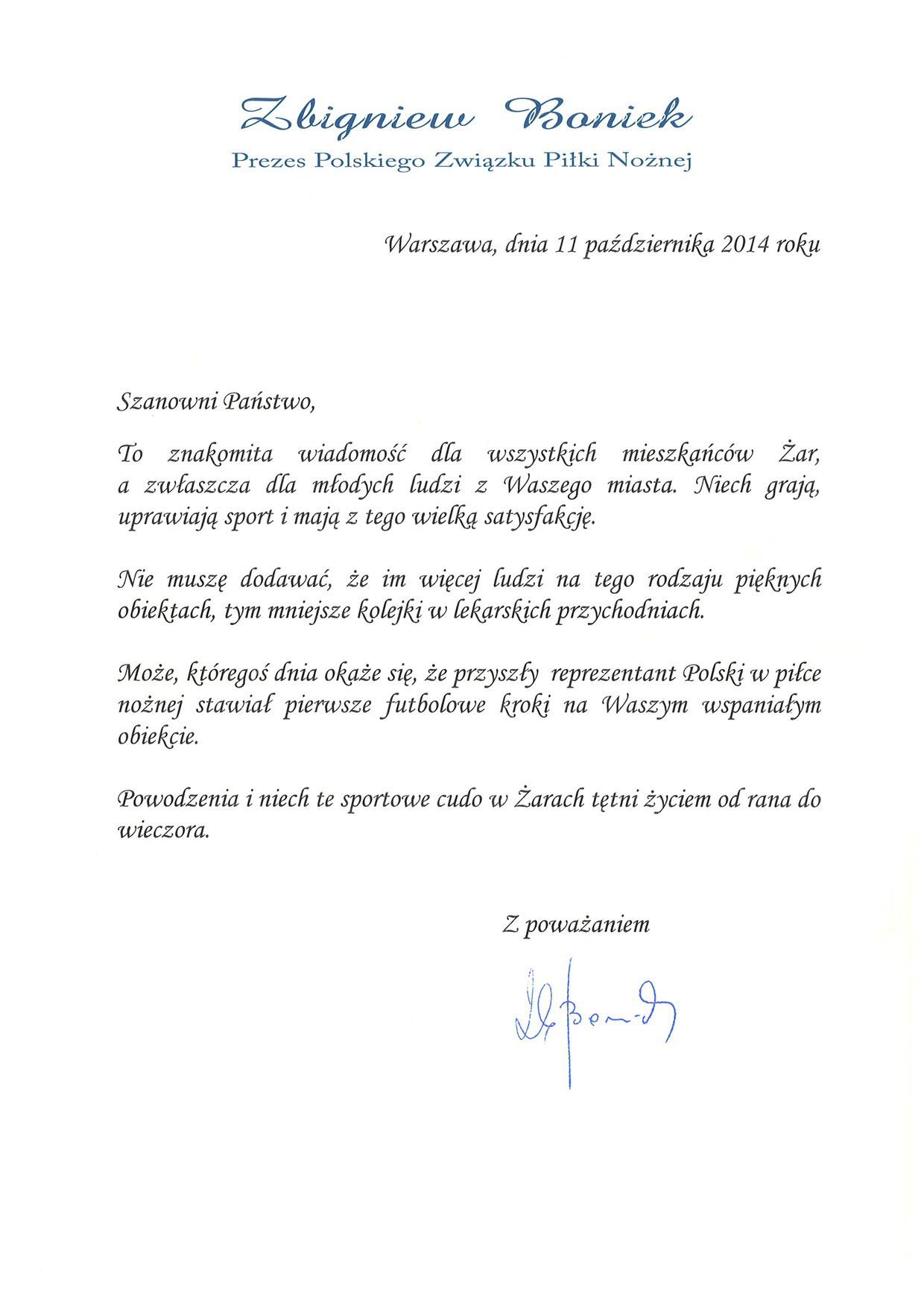 Ilustracja do informacji:  List od Prezesa Polskiego Związku Piłki Nożnej – Zbigniewa Bońka