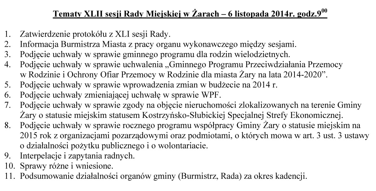 Ilustracja do informacji: Tematy XLII sesji Rady Miejskiej w Żarach