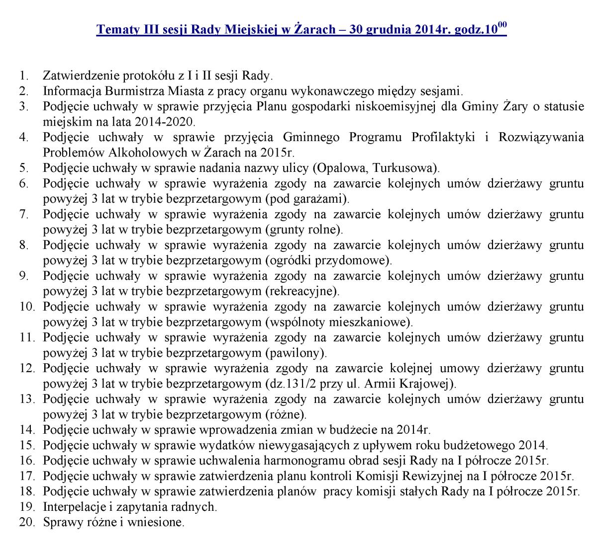 Ilustracja do informacji: Tematy III sesji Rady Miejskiej w Żarach