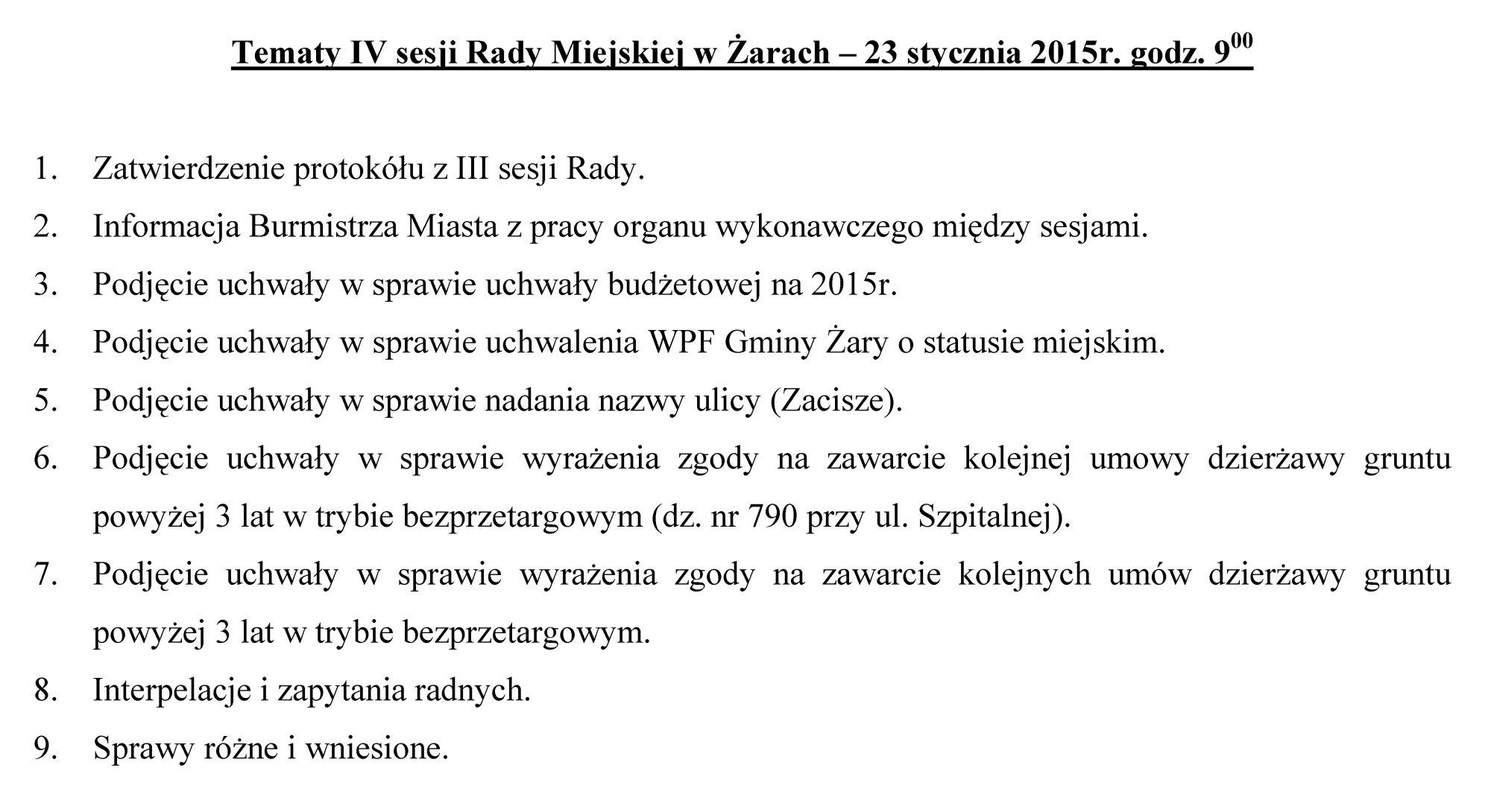 Ilustracja do informacji: Tematy IV sesji Rady Miejskiej w Żarach – 23 stycznia 2015r. godz. 9:00