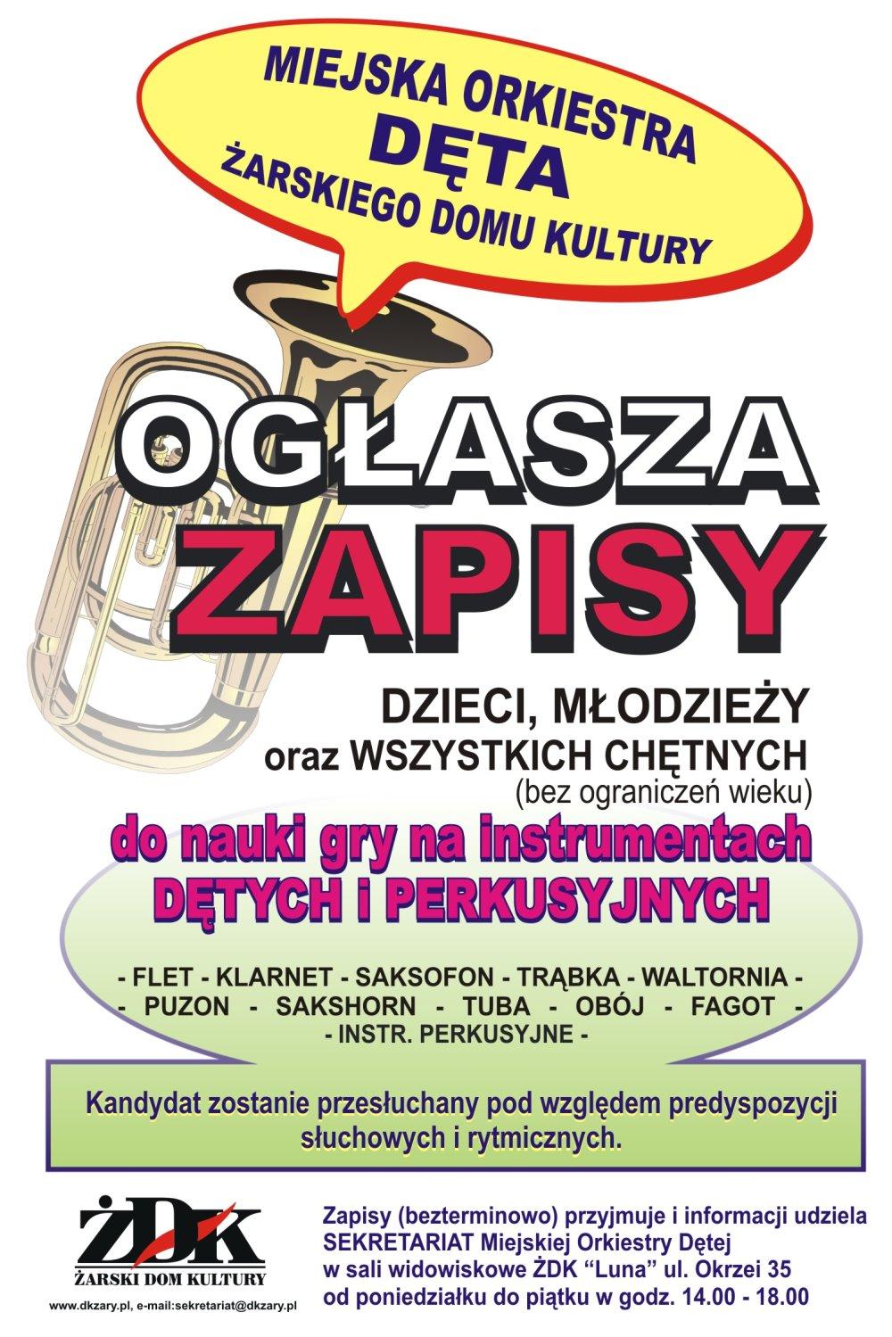 Ilustracja do informacji: Miejska Orkiestra Dęta ogłasza zapisy