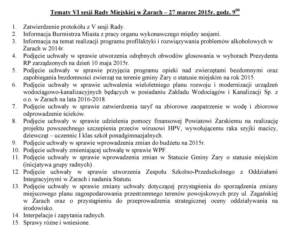Ilustracja do informacji: Sesja Rady Miejskiej w Żarach