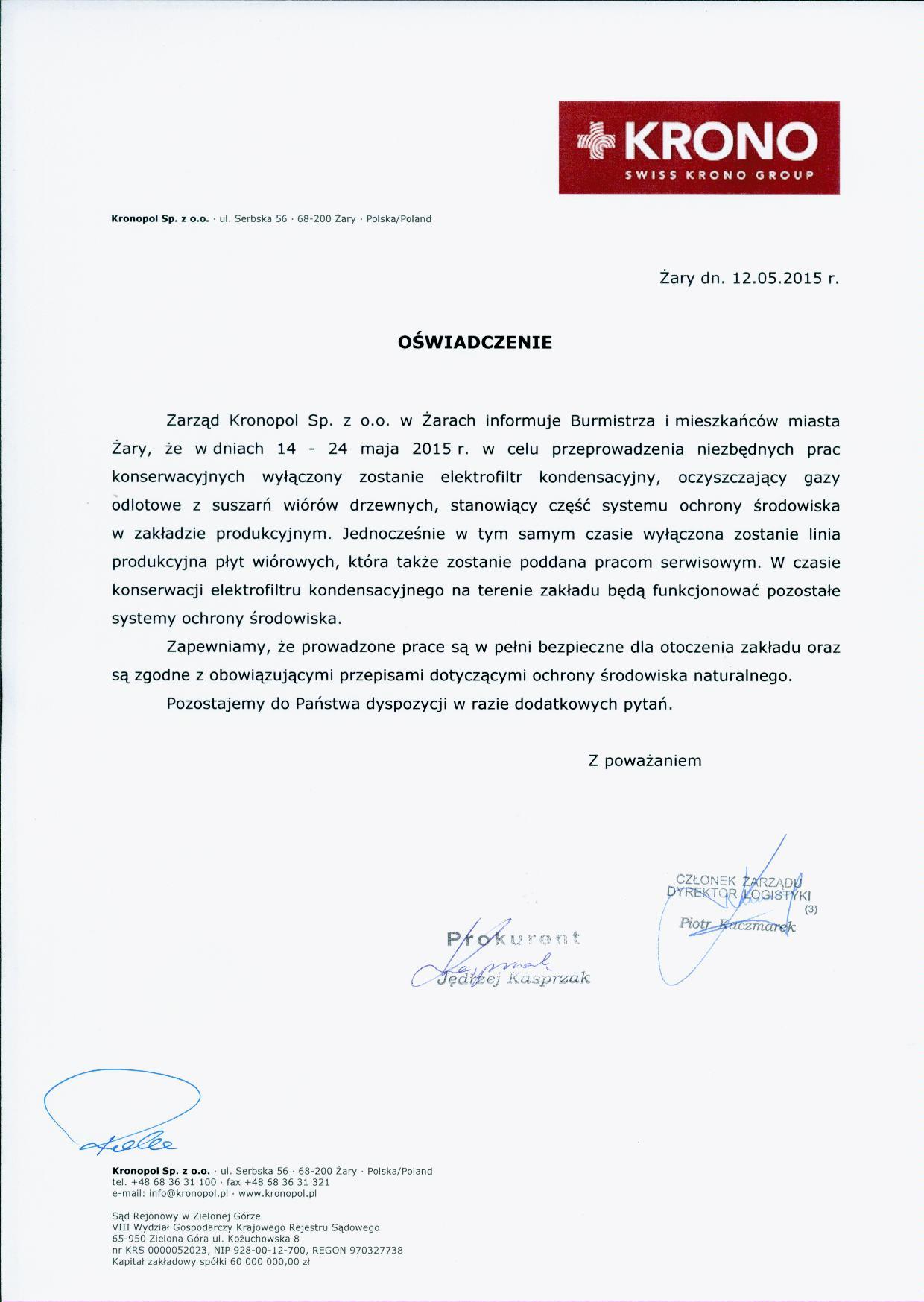 Ilustracja do informacji: Kronopol - oświadczenie