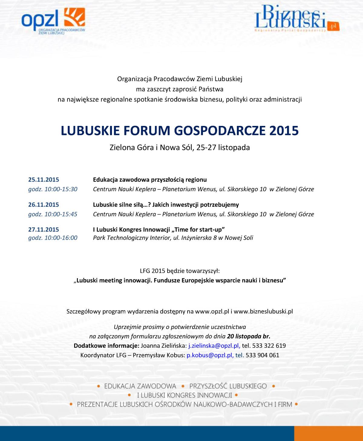 Ilustracja do informacji: LUBUSKIE FORUM GOSPODARCZE 2015