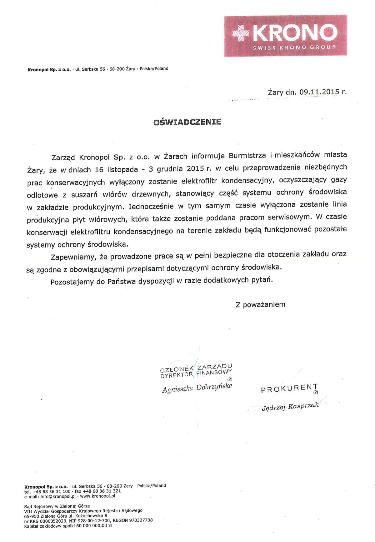 Ilustracja do informacji: Oświadczenie Kronopol