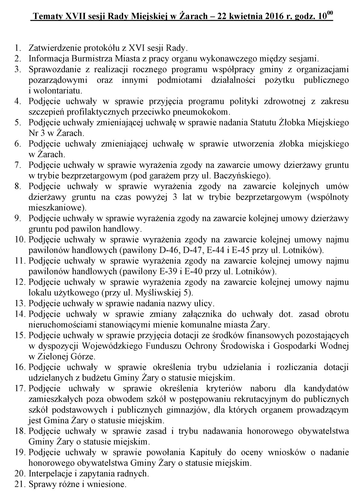 Ilustracja do informacji: Tematy XVII sesji Rady Miejskiej w Żarach