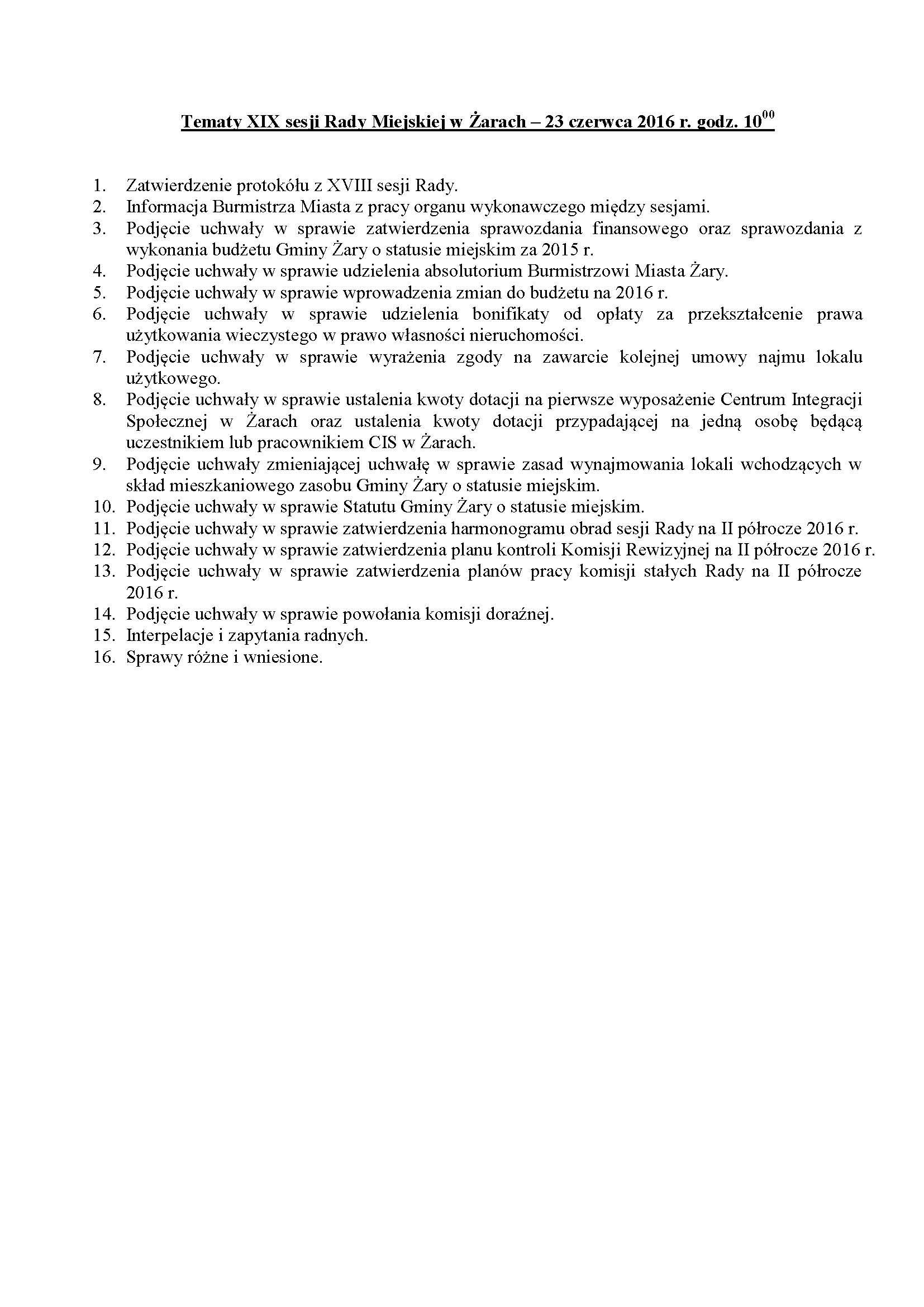 Ilustracja do informacji: Tematy XIX sesji Rady Miejskiej w Żarach – 23 czerwca 2016 r. godz. 10:00