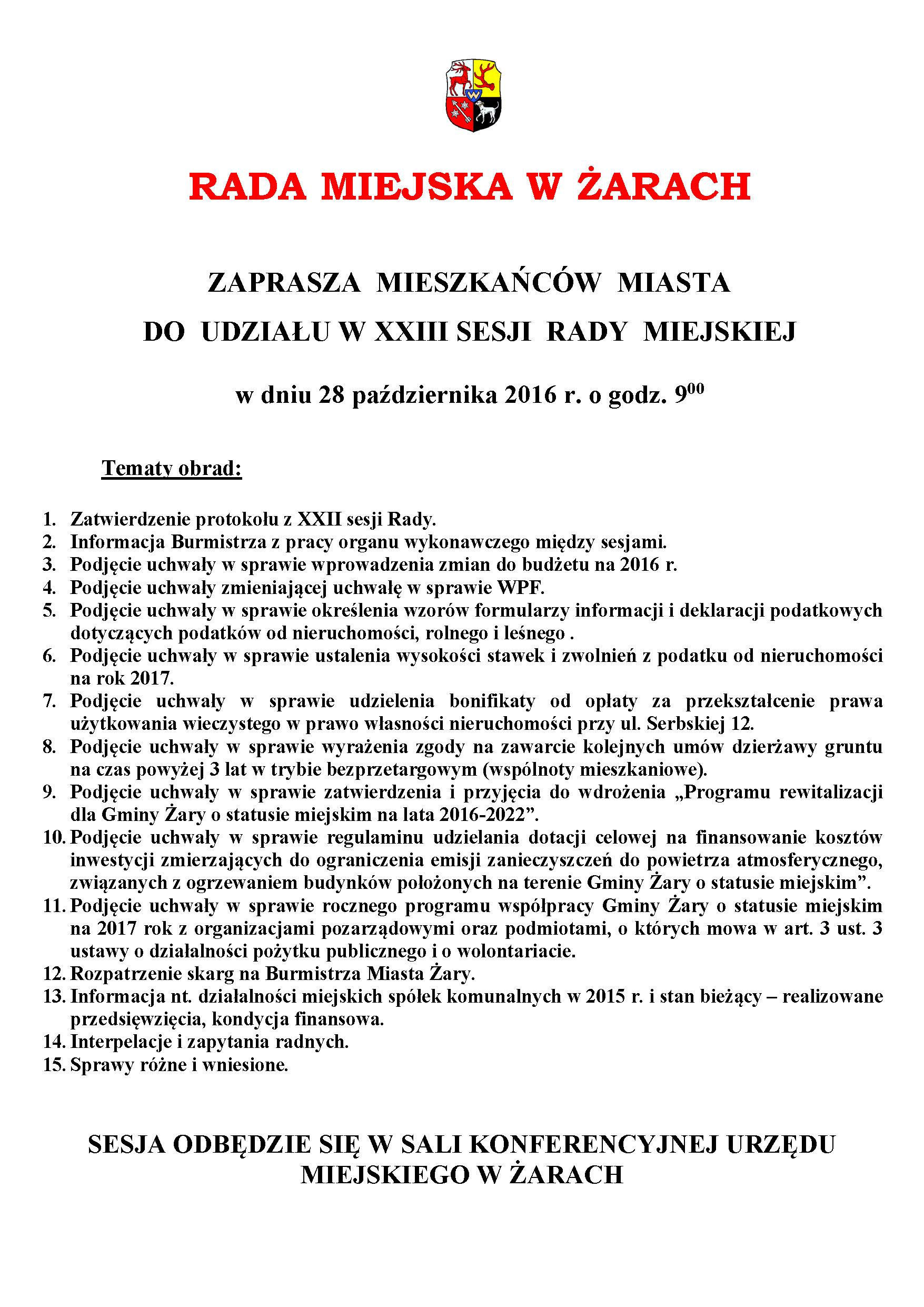 Ilustracja do informacji: XXIII SESJA RADY MIEJSKIEJ