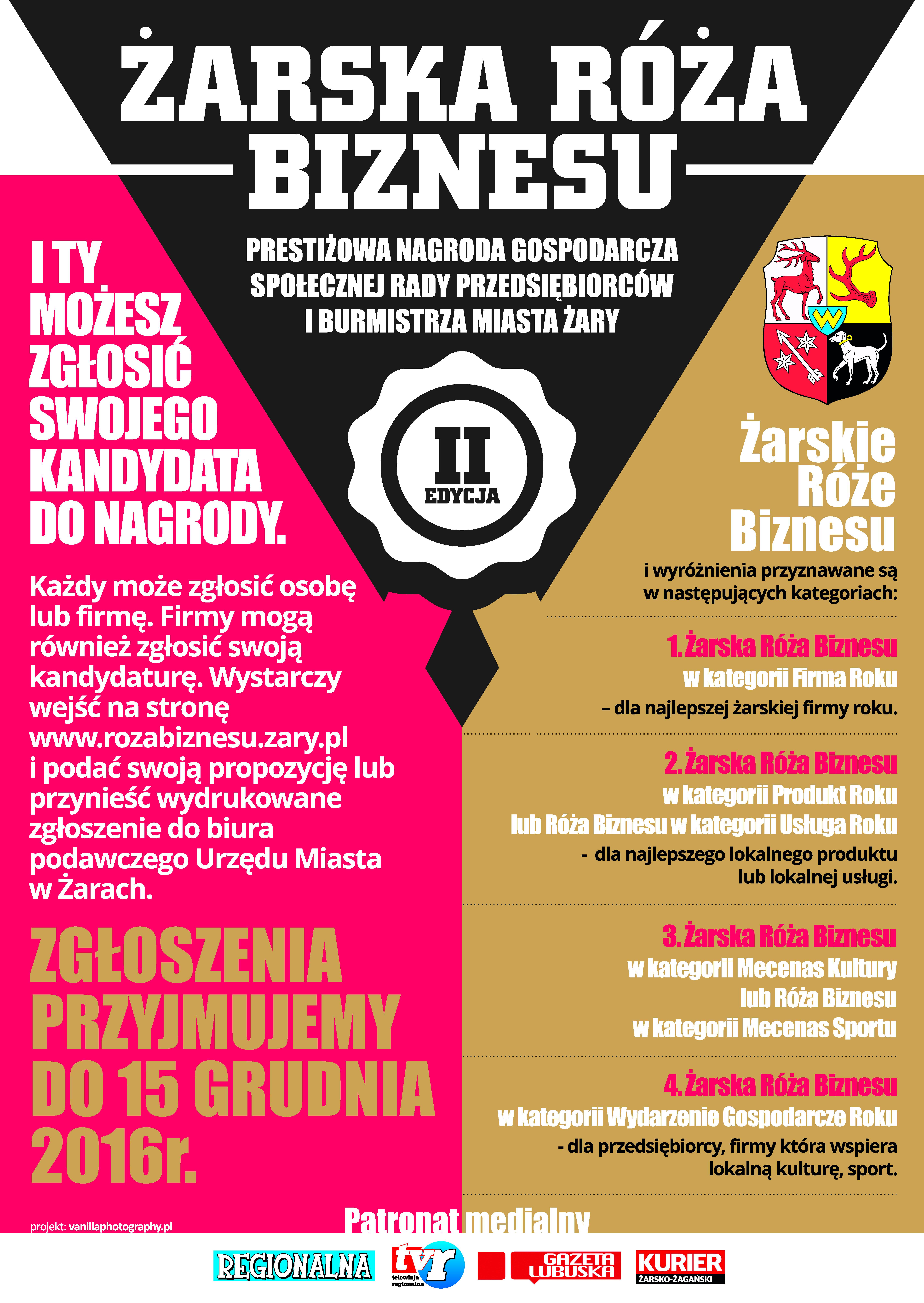 Ilustracja do informacji: Ruszyła II Edycja Żarskiej Róży Biznesu!!!