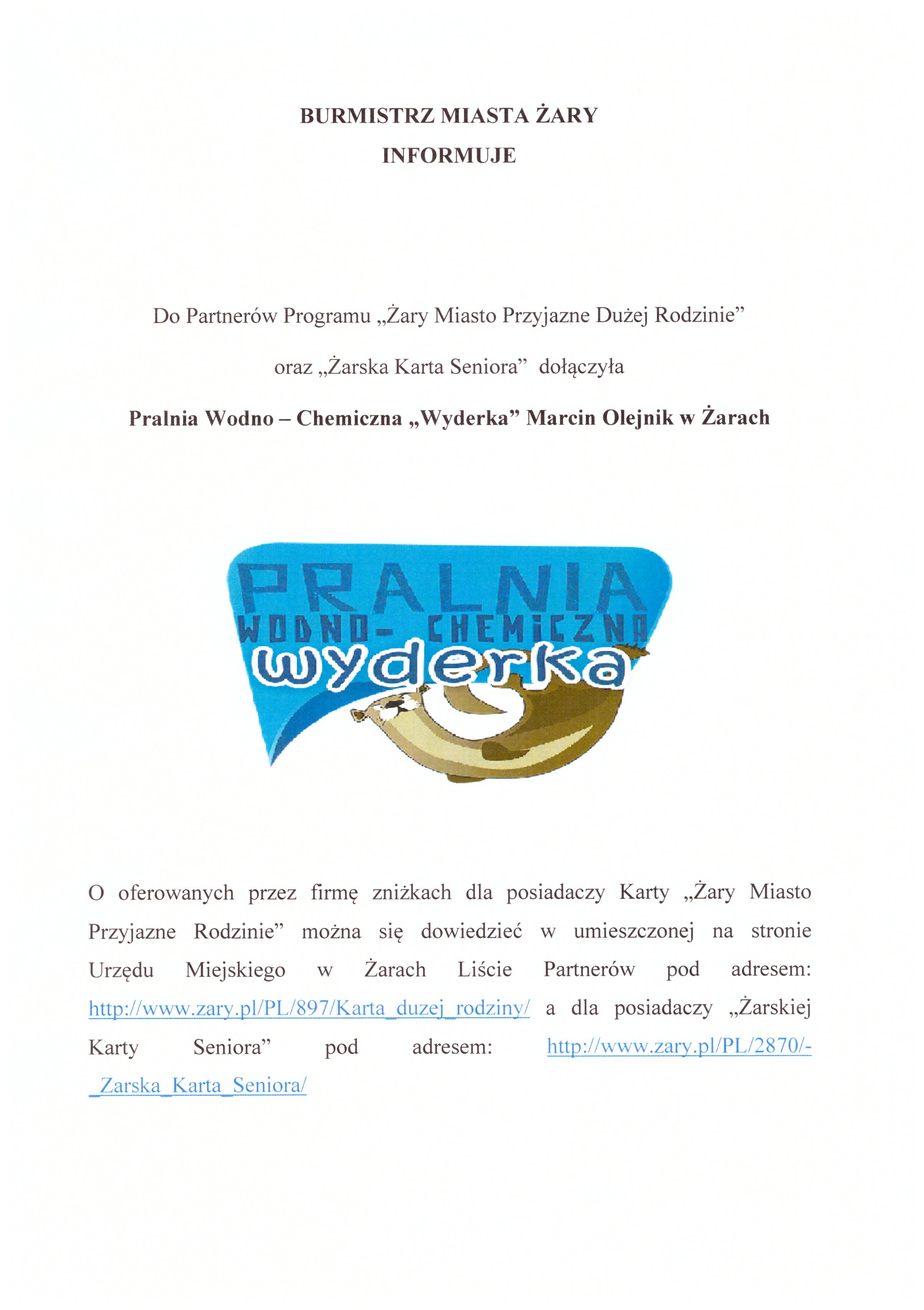 Ilustracja do informacji: Nowy Partner Żarskiej Karty Seniora