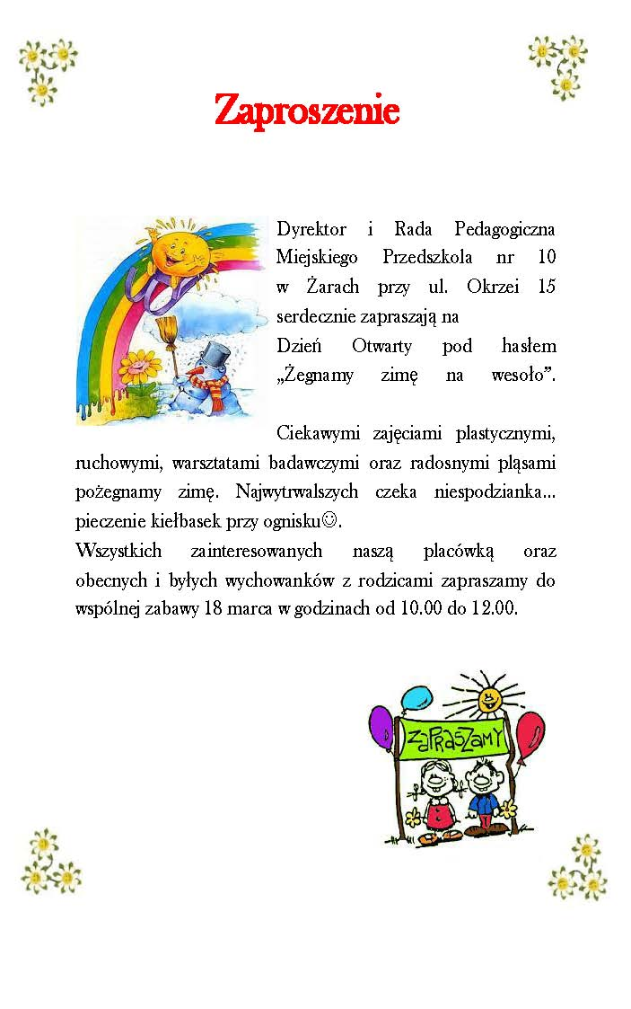 Ilustracja do informacji: Zaproszenie na drzwi otwarte w Miejskim Przedszkolu nr 10