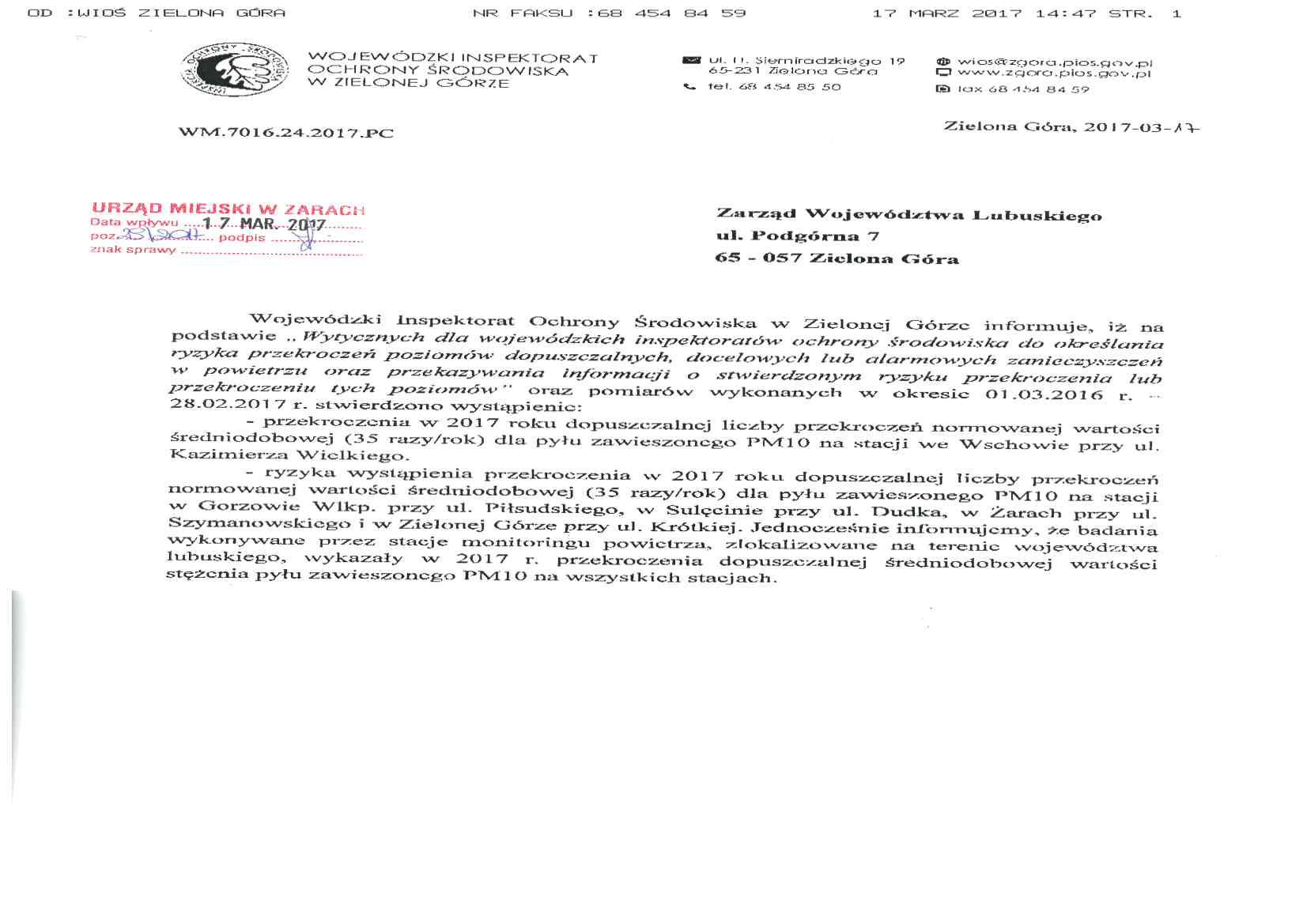 Ilustracja do informacji: Informacja Wojewódzkiego Inspektoratu Ochrony Środowiska