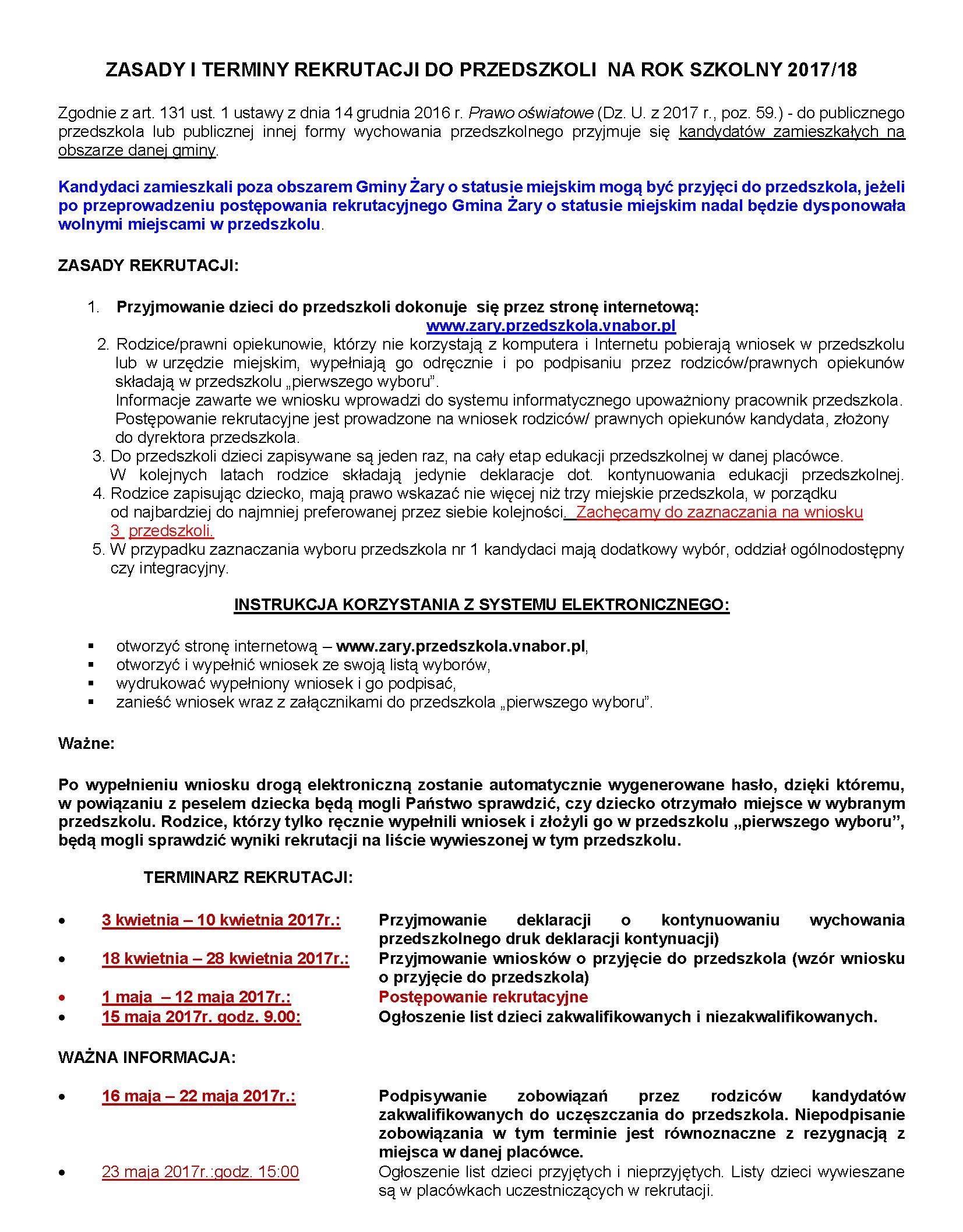 Ilustracja do informacji: ZASADY I TERMINY REKRUTACJI DO PRZEDSZKOLI NA ROK SZKOLNY 2017/18