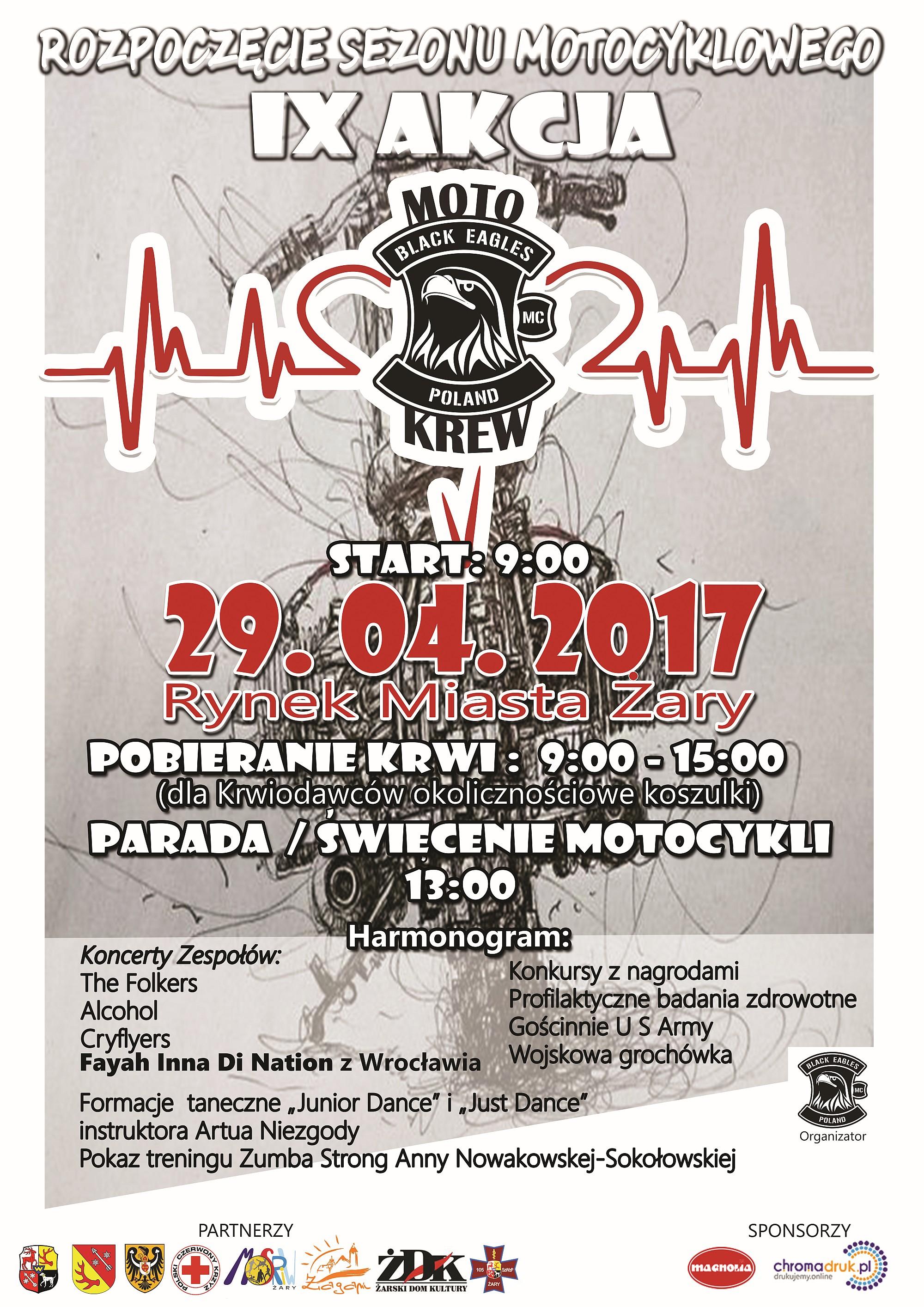 Ilustracja do informacji: IX Akcja Motokrew pod Honorowym Patronatem Danuty Madej Burmistrz Miasta Żary