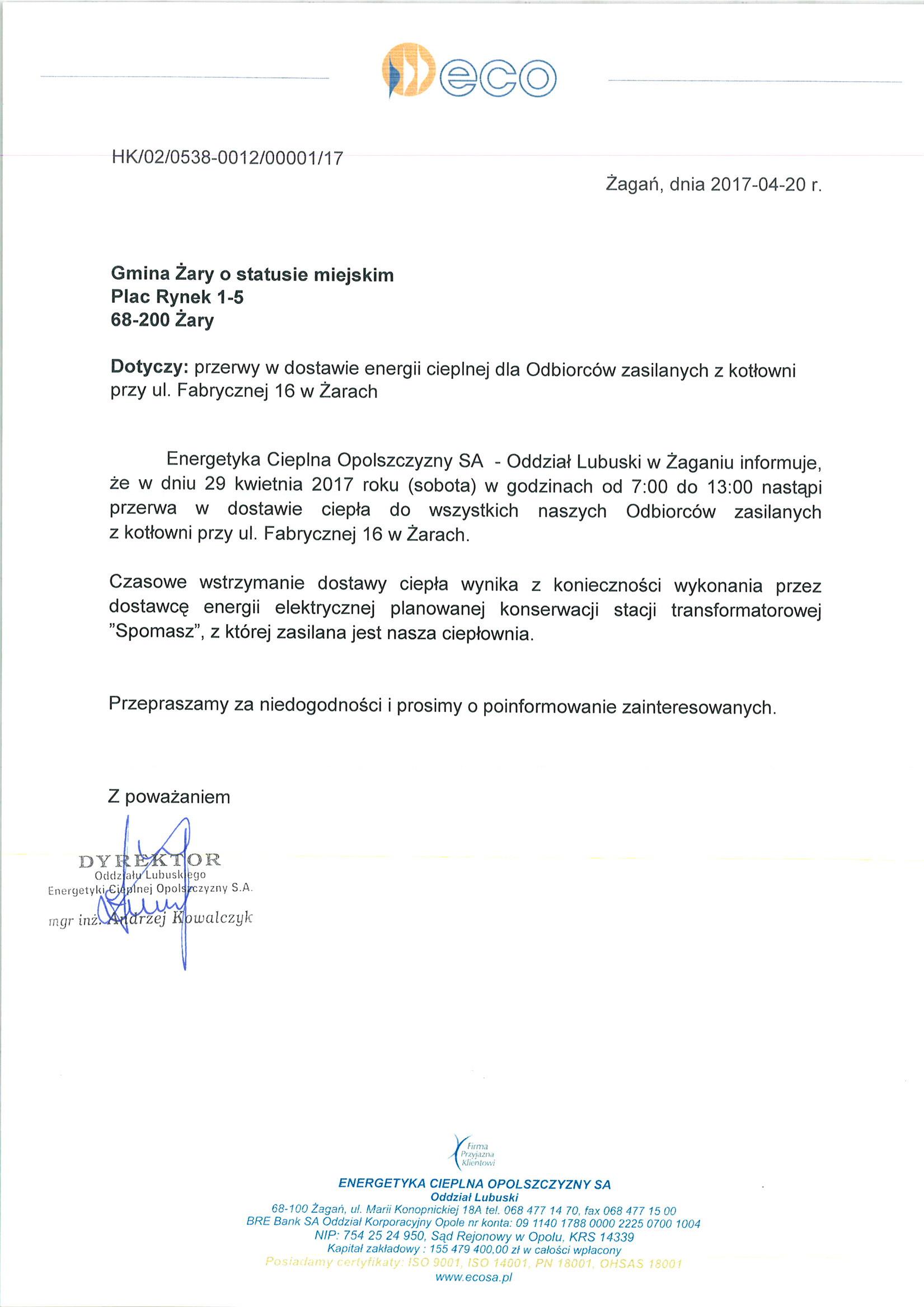 Ilustracja do informacji: Przerwa w dostawie ciepła w Żarach