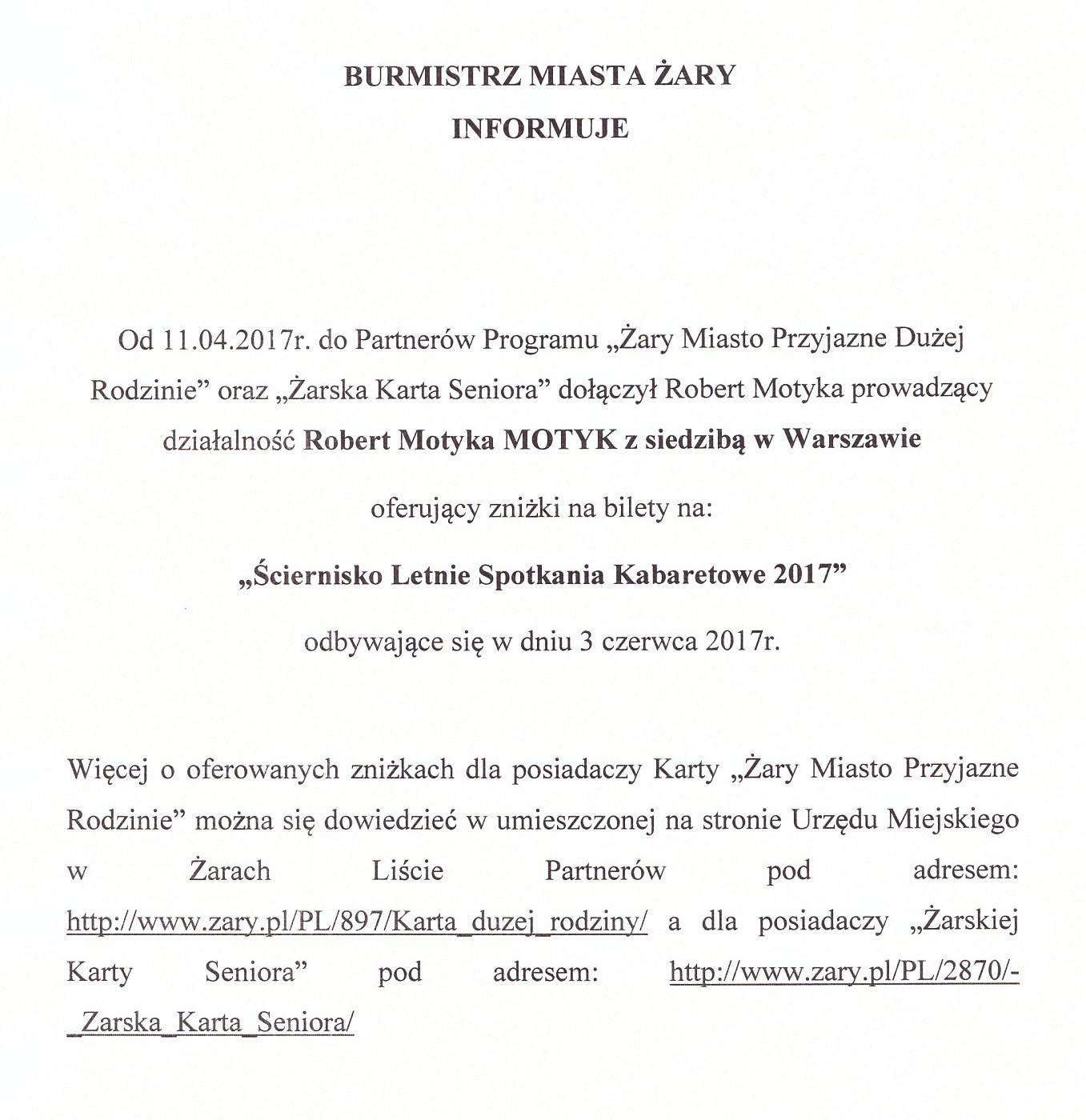 Ilustracja do informacji: Nowy Partner Żarskiej Karty Seniora i Karty Żary Miasto Przyjazne Rodzinie