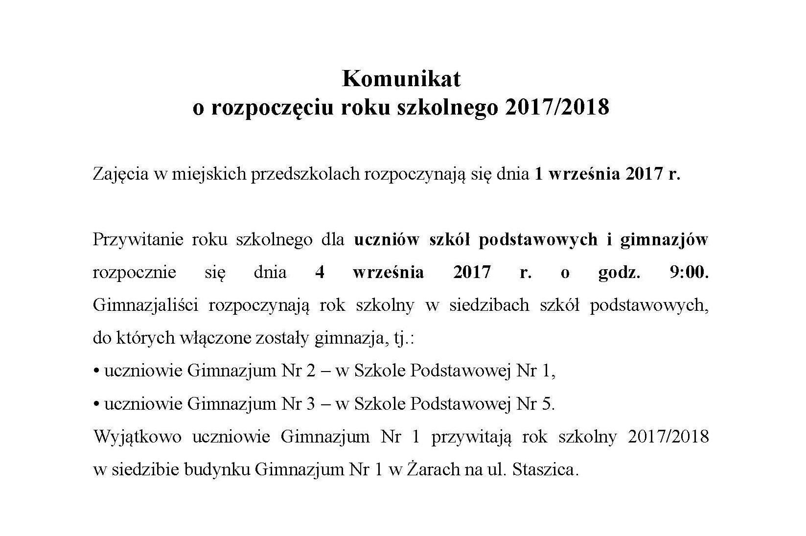 Ilustracja do informacji: Rozpoczęcie roku szkolnego 2017/2018