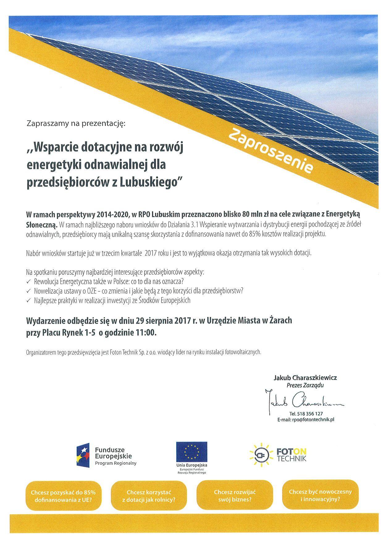 Ilustracja do informacji: Wsparcie dotacyjne na rozwój energetyki odnawialnej dla przedsiębiorców z Lubuskiego