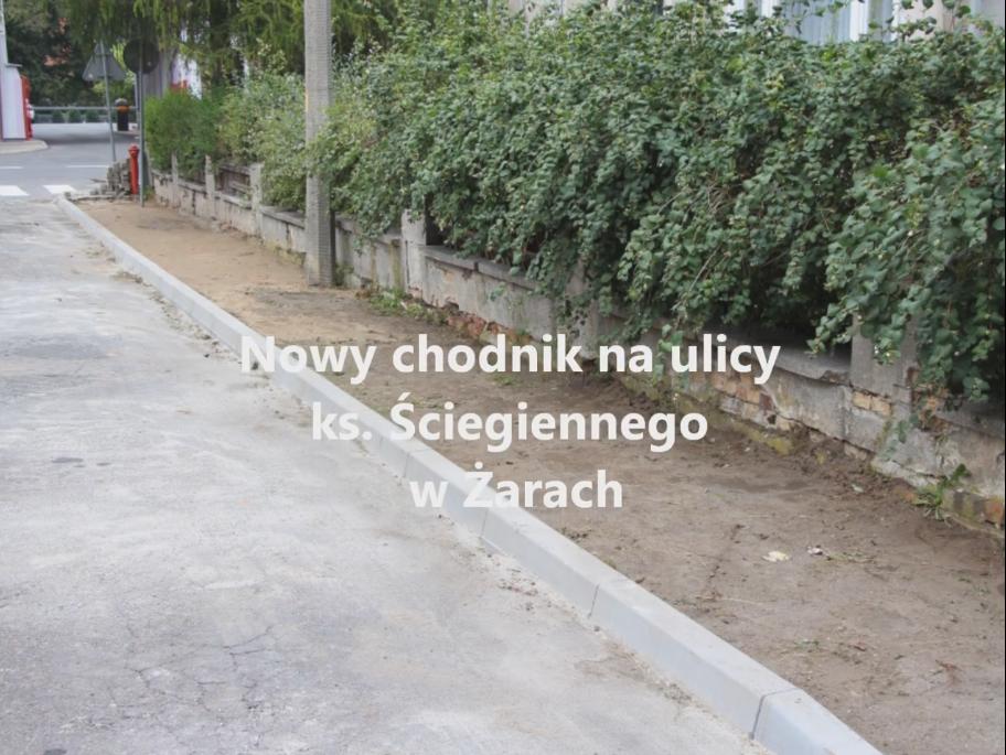 Ilustracja do informacji: Nowy chodnik na ul. ks Ściegiennego w Żarach