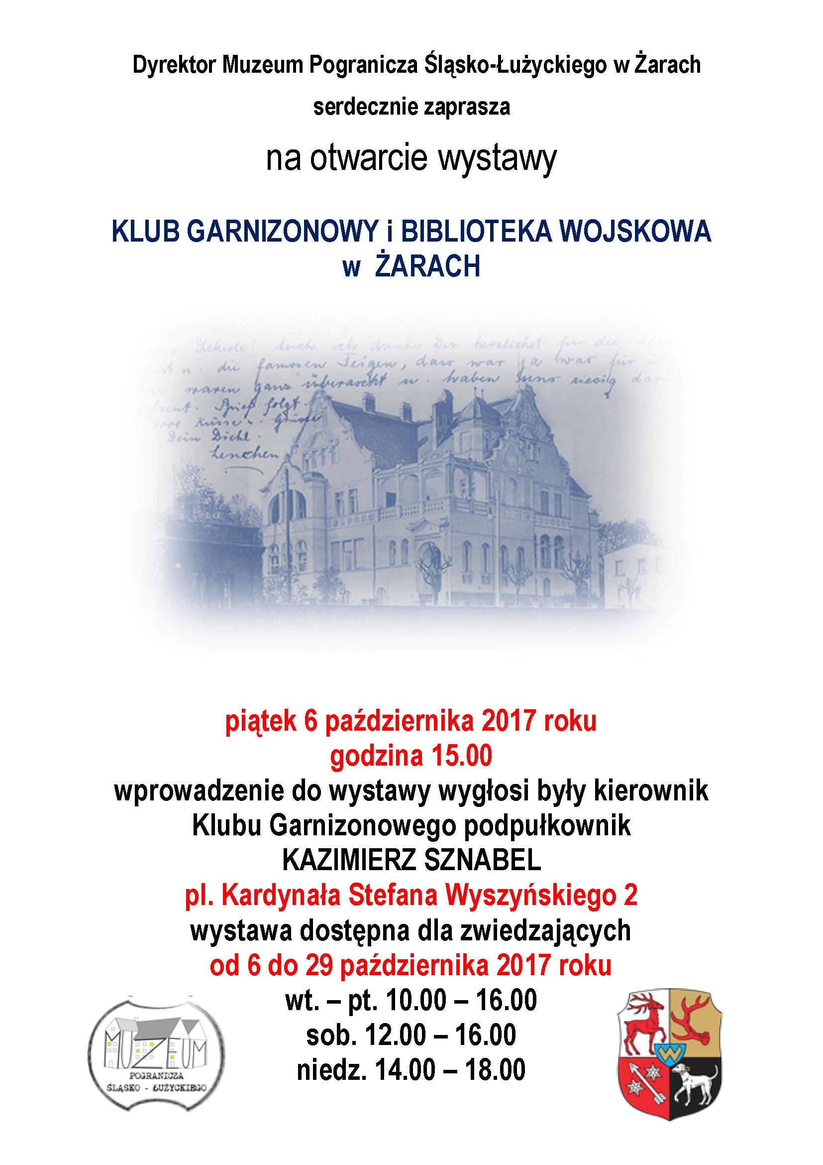 """Ilustracja do informacji: Otwarcie wystawy pt: """"Klub Garnizonowy i biblioteka wojskowa w Żarach"""""""