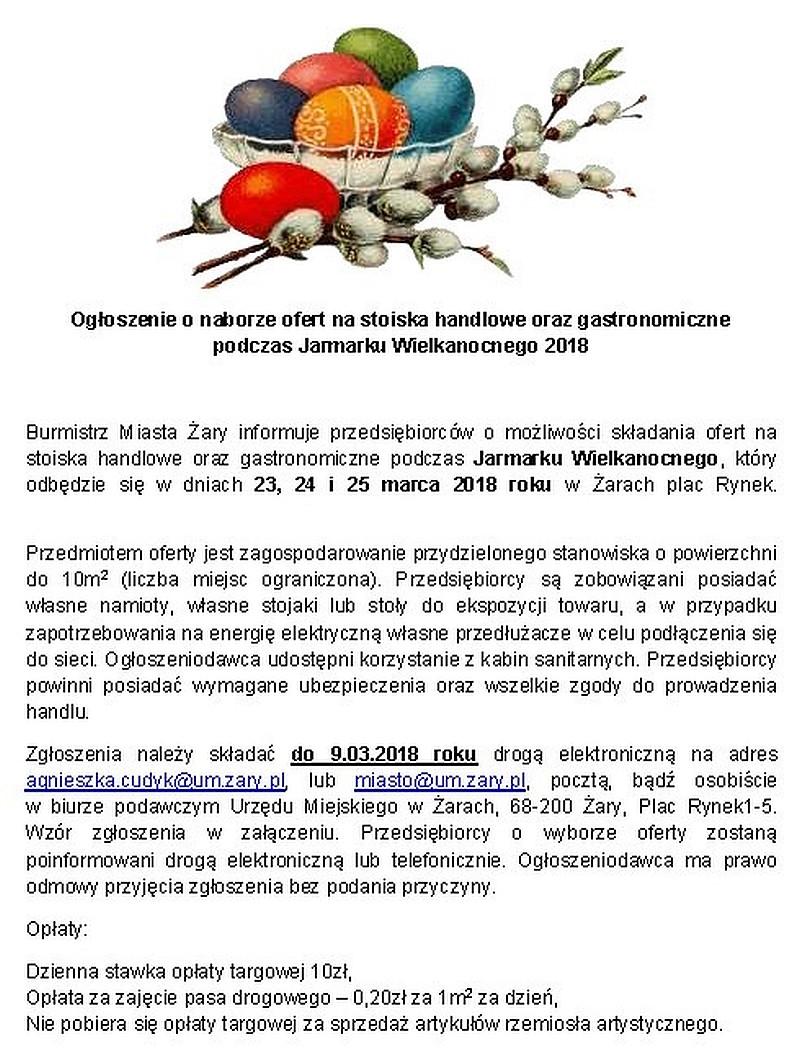 Ilustracja do informacji: Ogłoszenie o naborze ofert na stoiska handlowe oraz gastronomiczne podczas Jarmarku Wielkanocnego 2018