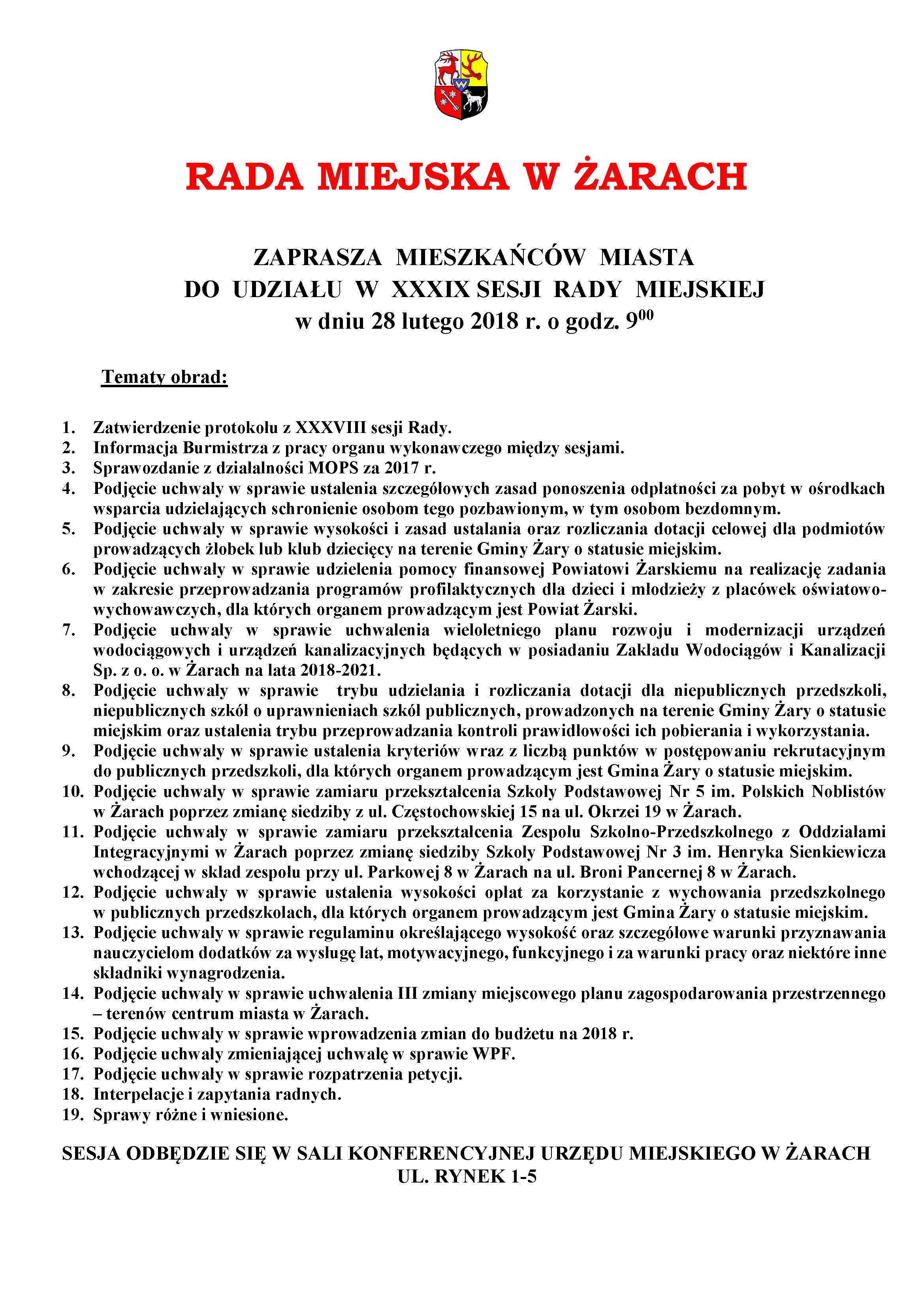 Ilustracja do informacji: XXXIX SESJA RADY MIEJSKIEJ