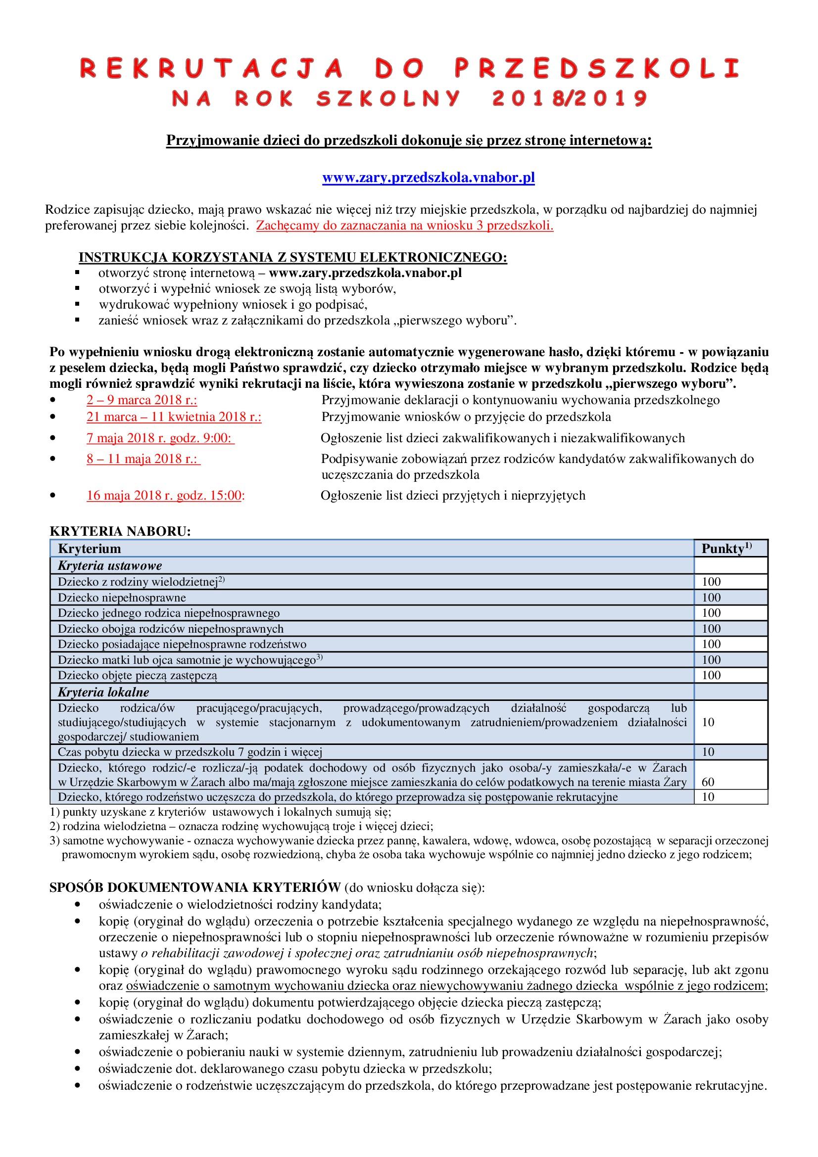Ilustracja do informacji: Rekrutacja do przeszkoli na rok szkolny 2018/2019