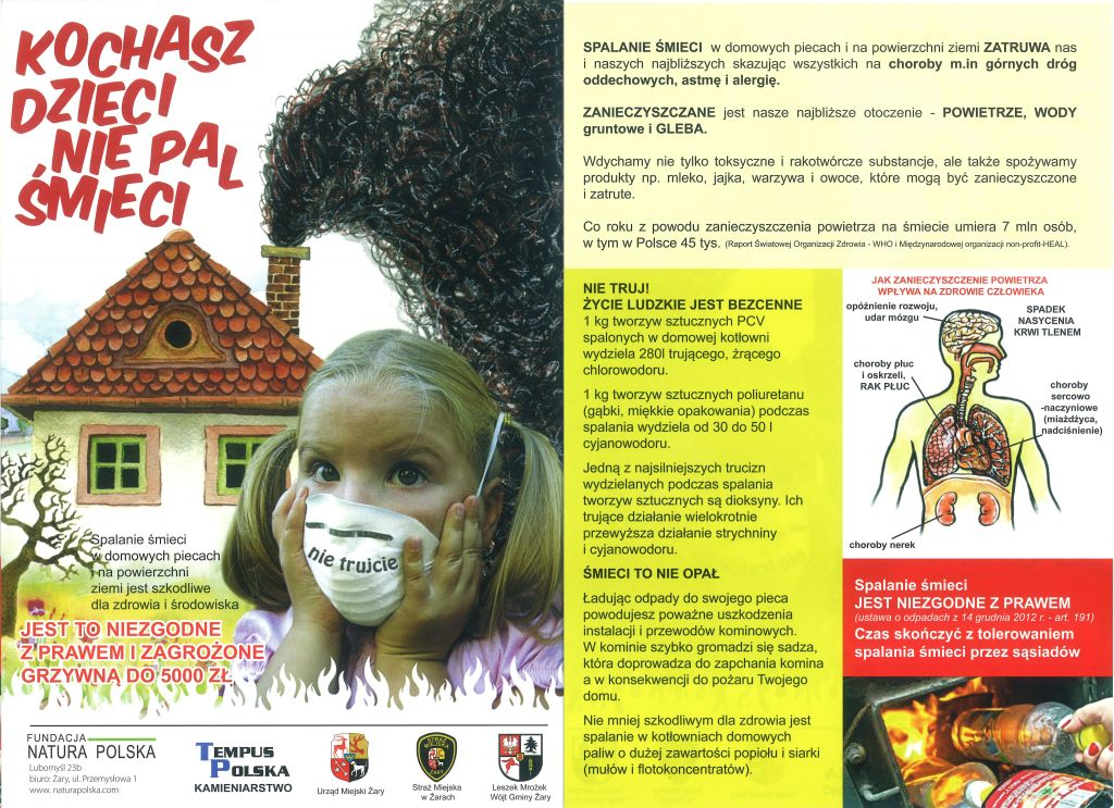Ilustracja do informacji: Kochasz dzieci nie pal śmieci