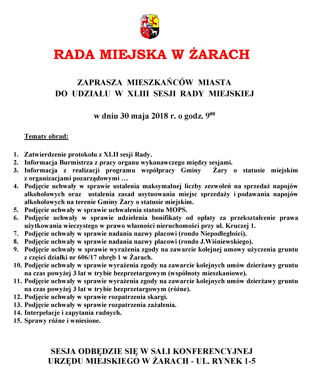Ilustracja do informacji: XLIII SESJA RADY MIEJSKIEJ