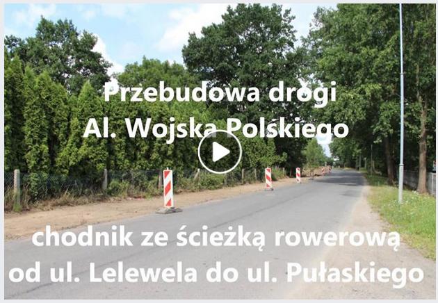 Ilustracja do informacji: Przebudowa drogi Al. Wojska Polskiego - chodnik ze ścieżką rowerową na odcinku od ul. Lelewela do ul. Pułaskiego w Żarach