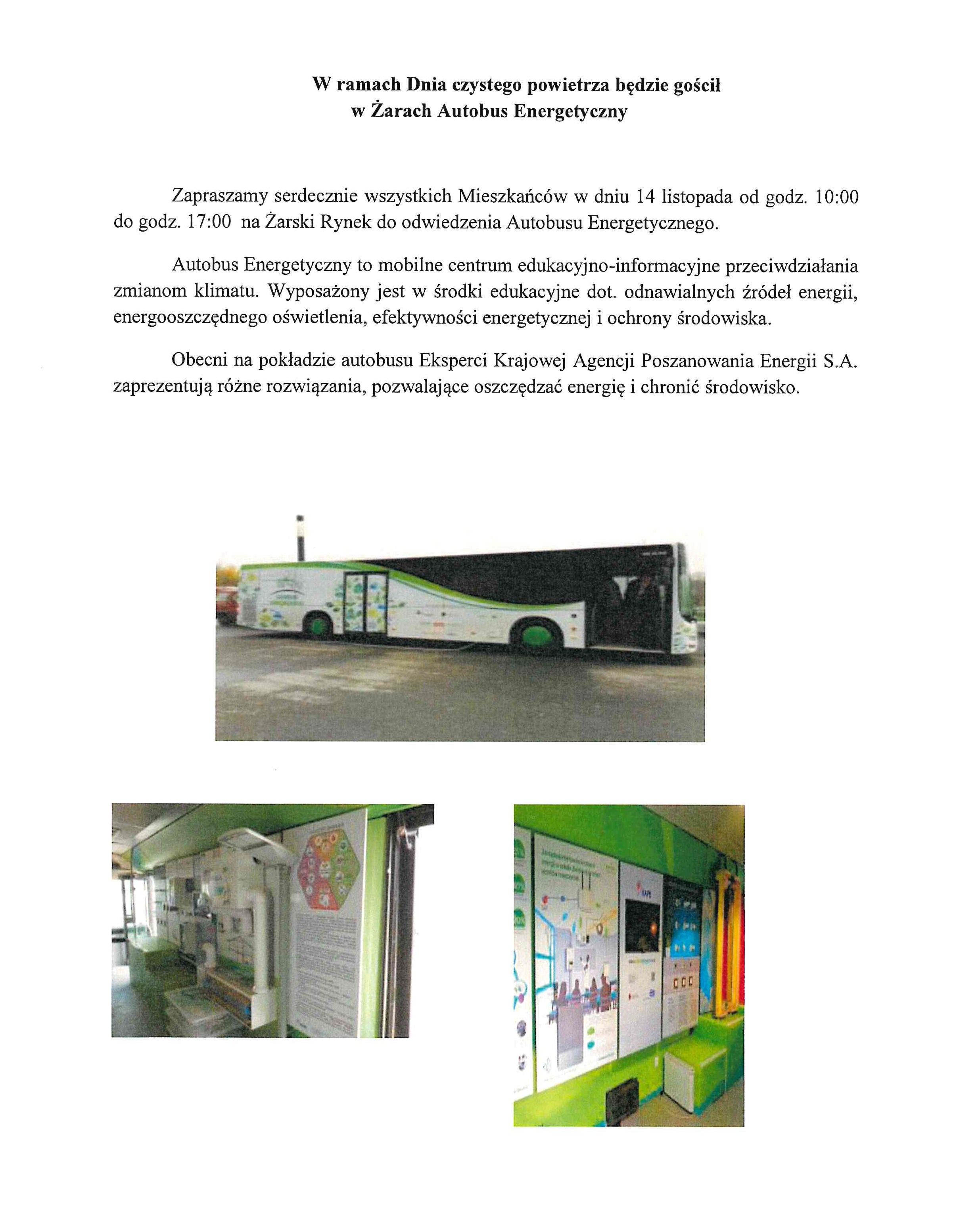 Ilustracja do informacji: W ramach Dnia czystego powietrza będzie gościł w Żarach Autobus Energetyczny
