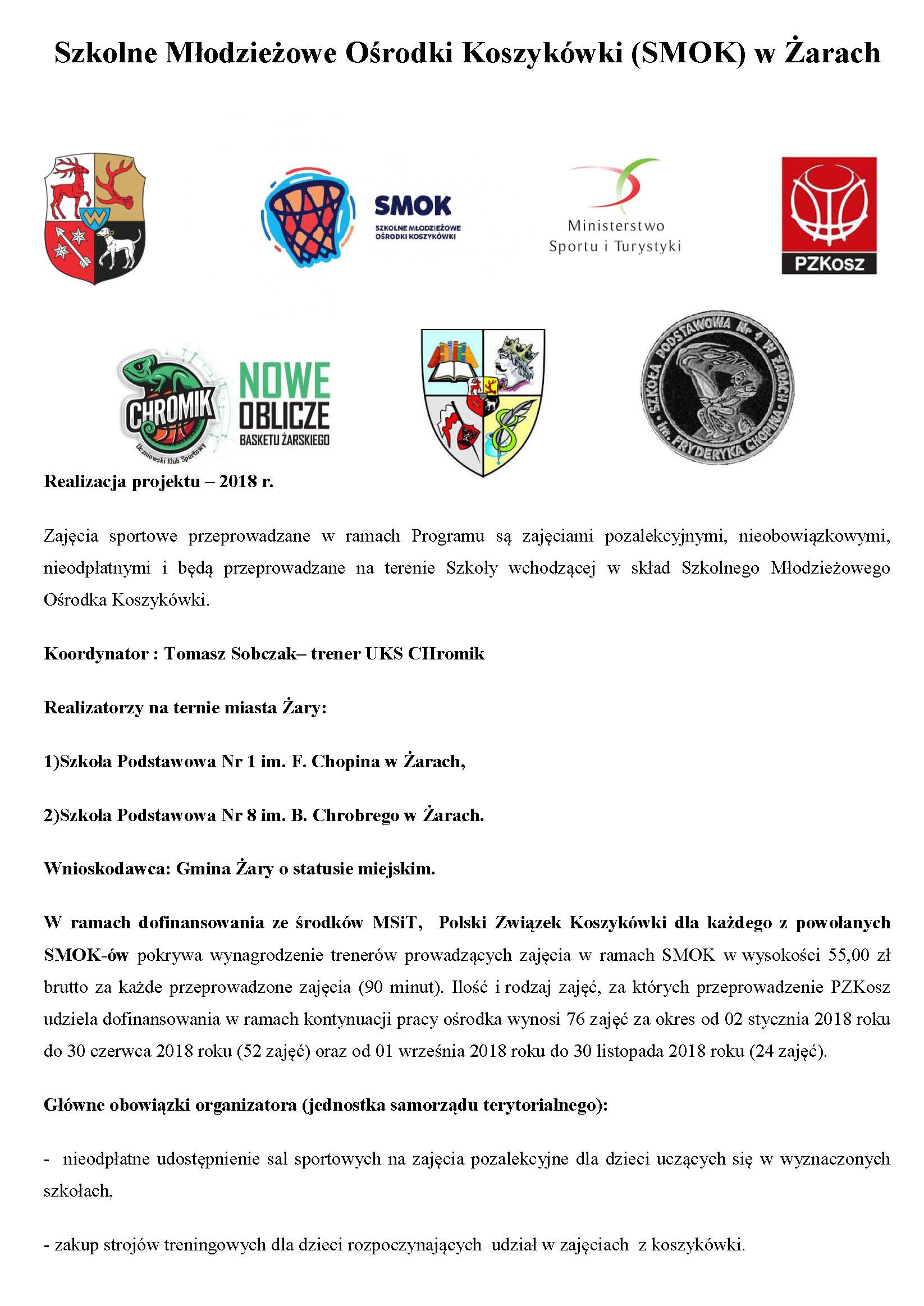Ilustracja do informacji: Szkolne Młodzieżowe Ośrodki Koszykówki (SMOK) w Żarach