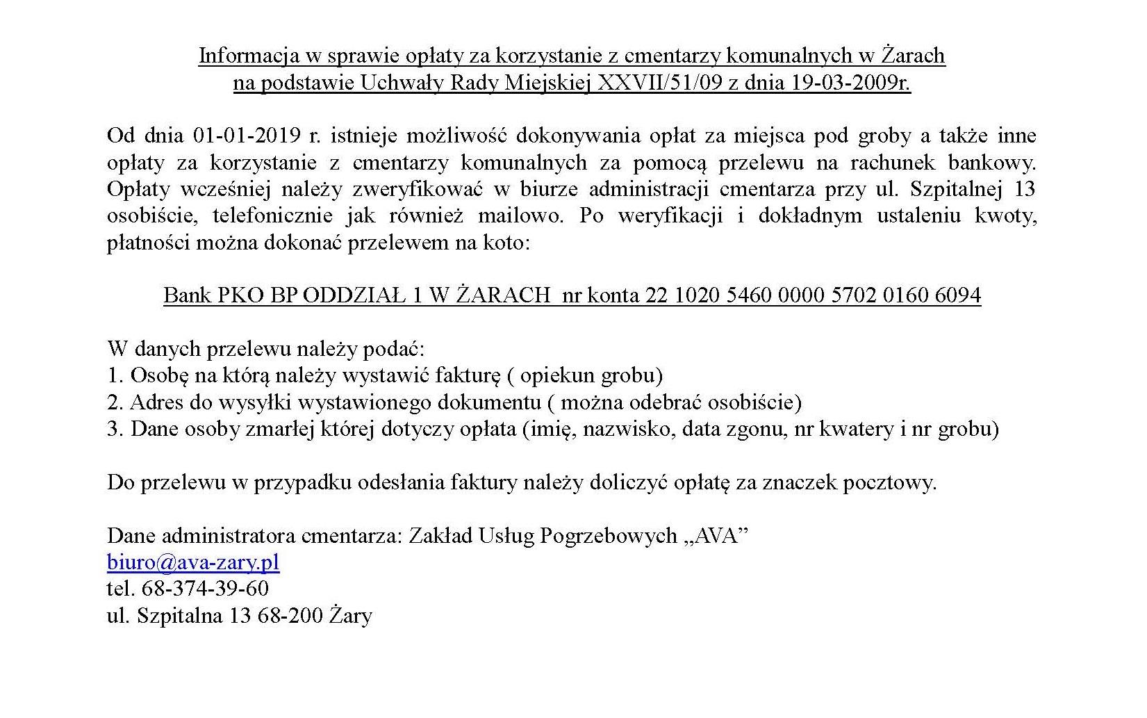 Ilustracja do informacji: Informacja w sprawie opłat za korzystanie z cmentarzy komunalnych w Żarach