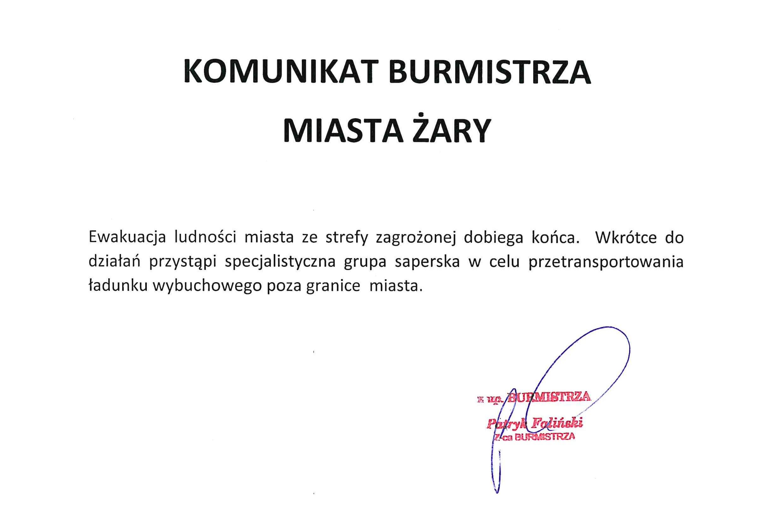Ilustracja do informacji: Komunikat Burmistrza Miasta Żary