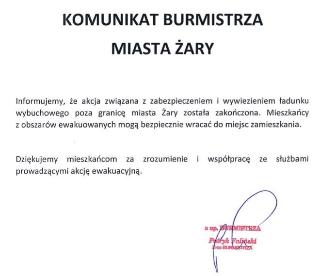 Ilustracja do informacji: Komunikat Burmistrza Miasta Żary - zakończenie akcji.