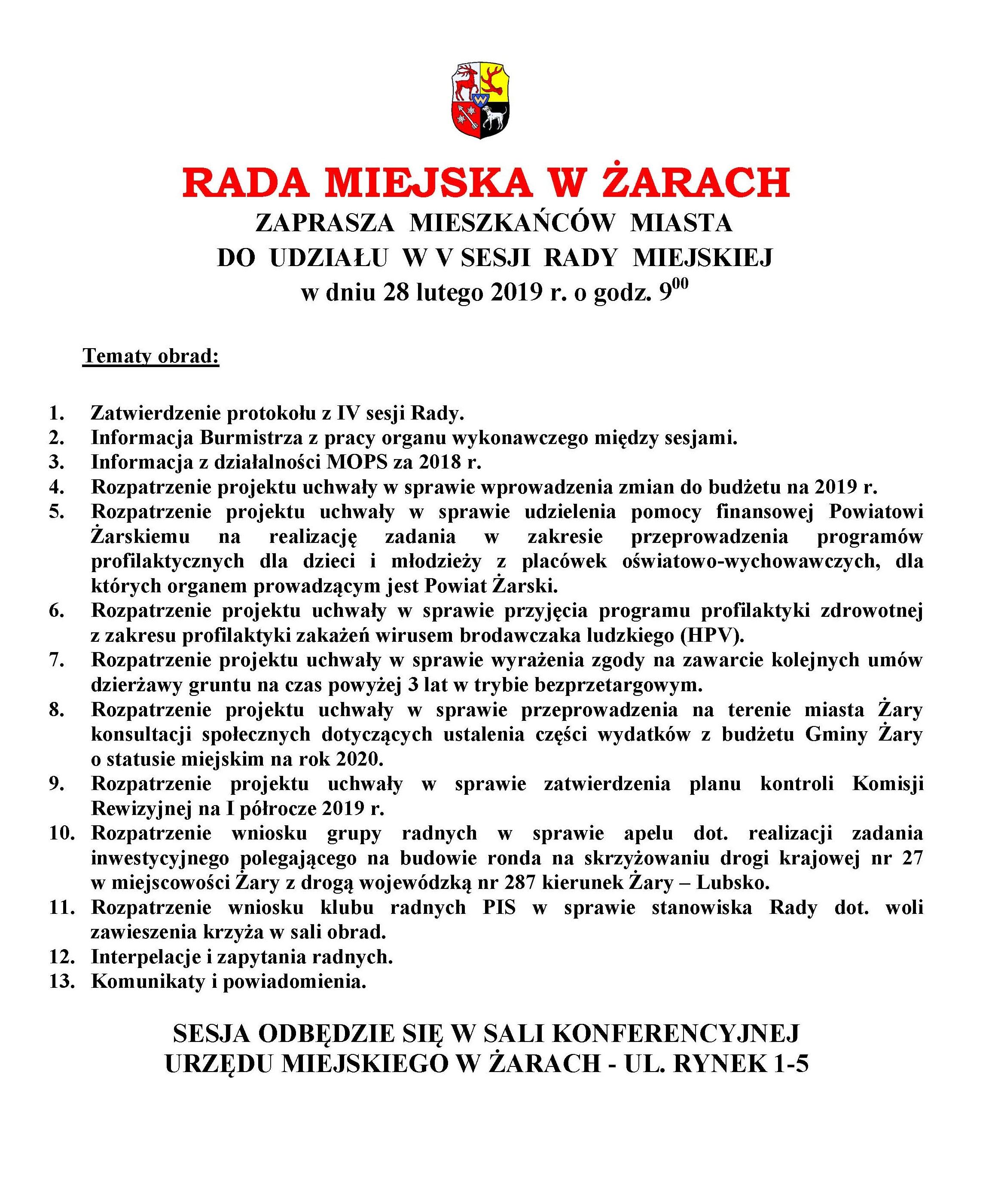 Ilustracja do informacji: Zaproszenie na V sesję Rady Miejskiej