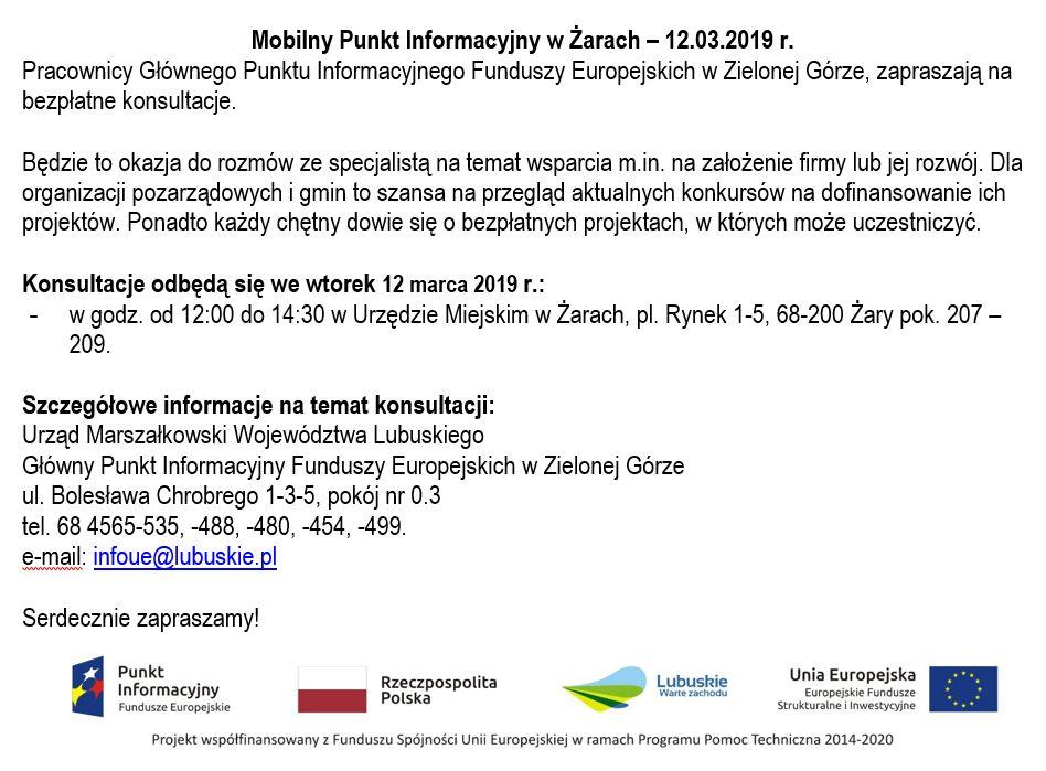 Ilustracja do informacji: Mobilny Punkt Informacyjny w Żarach – 12.03.2019 r.