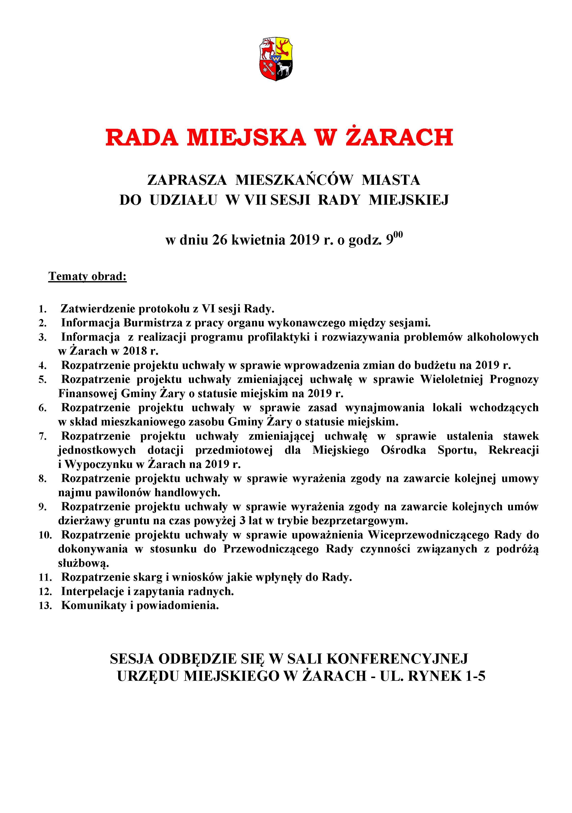 Ilustracja do informacji: Zaproszenie na VII sesję Rady