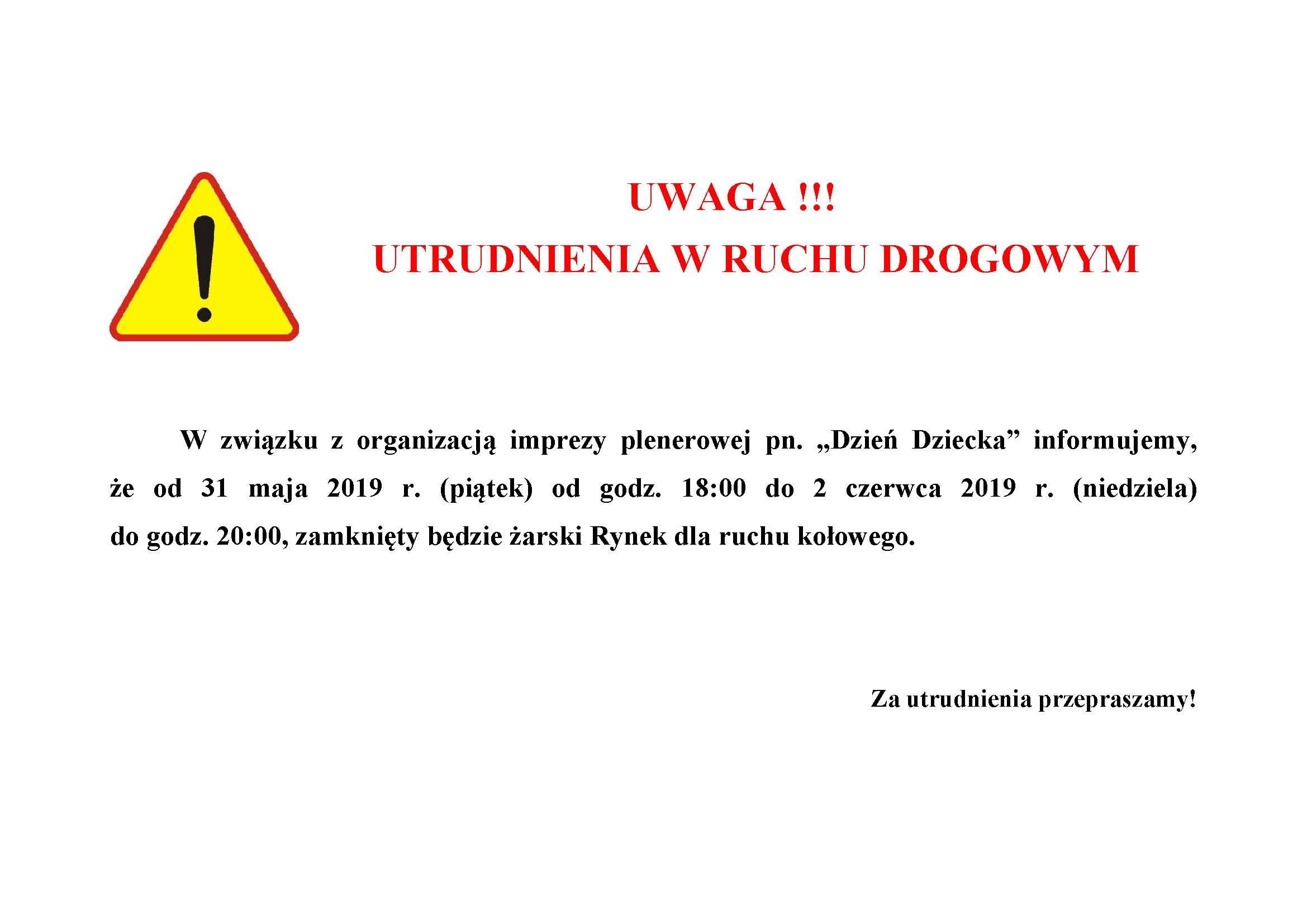 Ilustracja do informacji: Uwaga !!!