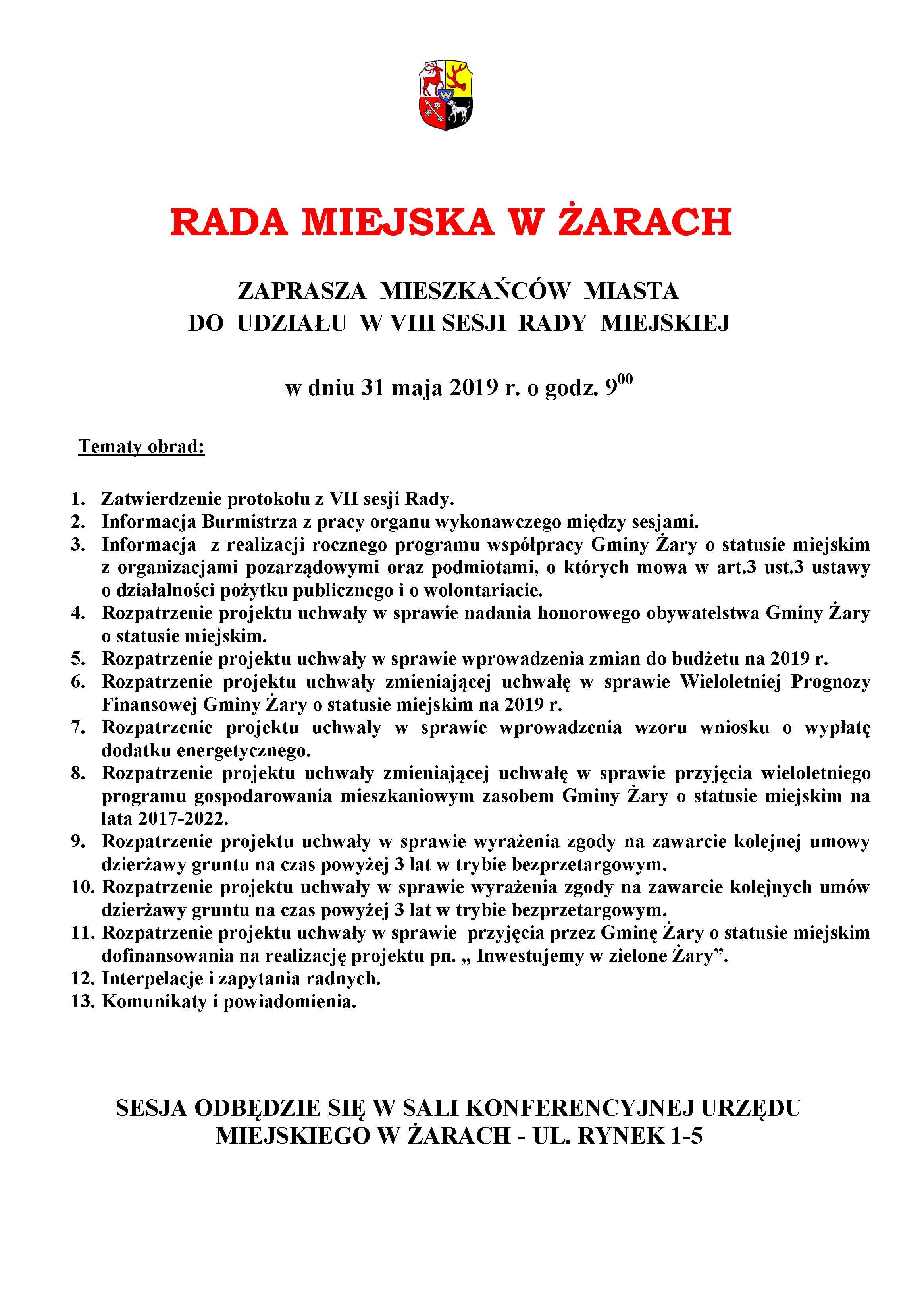 Ilustracja do informacji: Zaproszenie na VIII sesję Rady