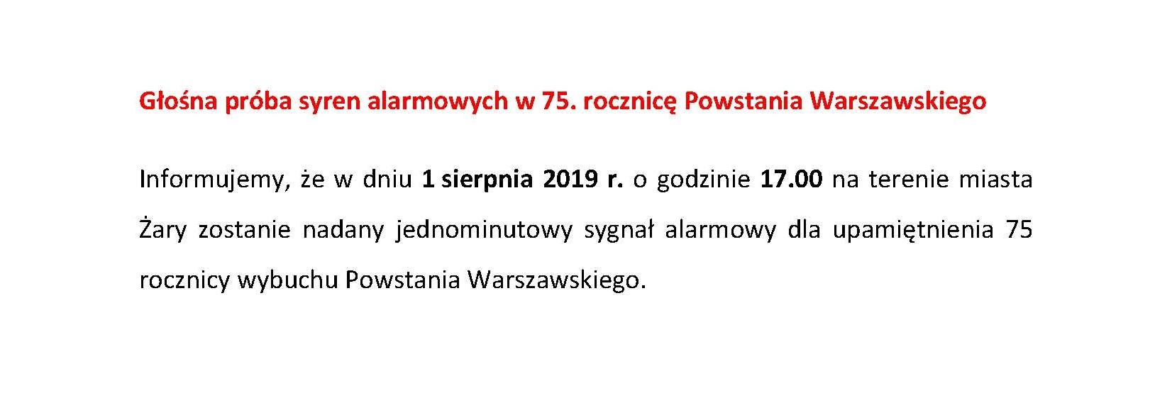 Ilustracja do informacji: Głośna próba syren alarmowych w 75. rocznicę Powstania Warszawskiego