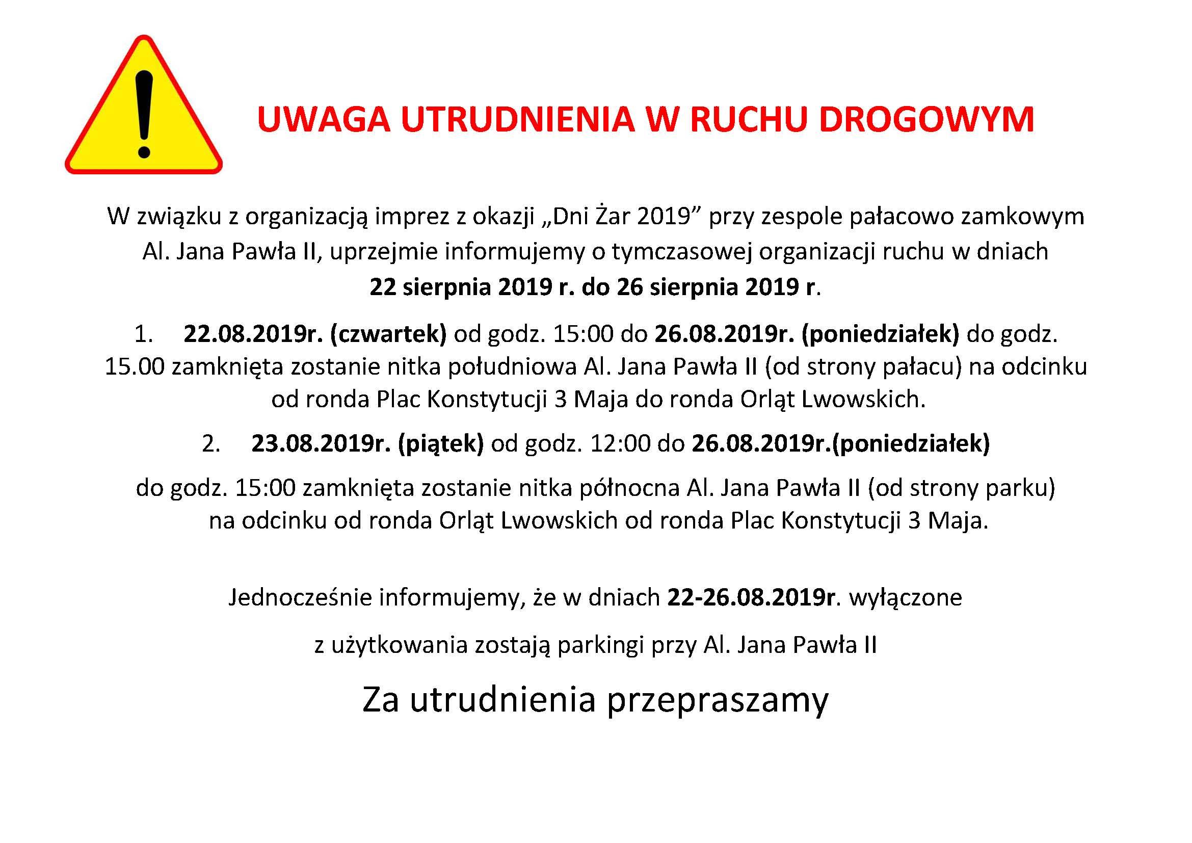 """Ilustracja do informacji: Uwaga utrudnienia w ruchu drogowym """"Dni Żar"""""""