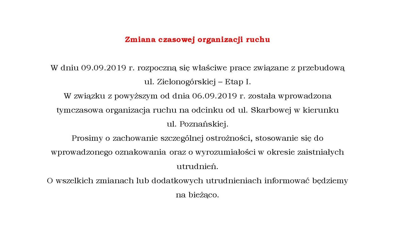 Ilustracja do informacji: Zmiana czasowej organizacji ruchu