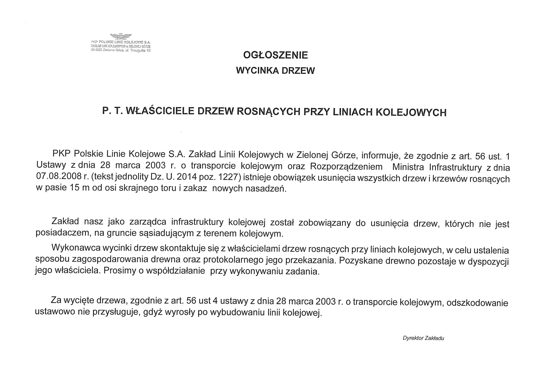 Ilustracja do informacji: Ogłoszenie PKP Polskie Linie Kolejowe S. A.