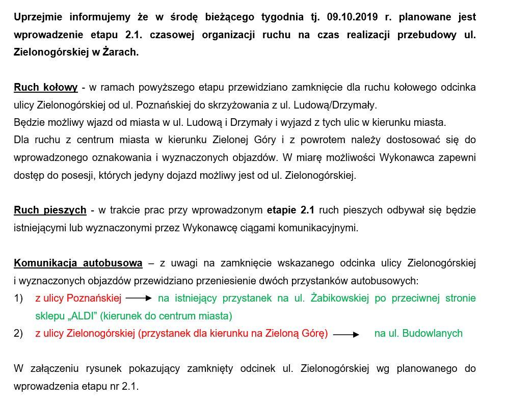 Ilustracja do informacji: Utrudnienia w ruchu związane z przebudową ulicy Zielonogórskiej