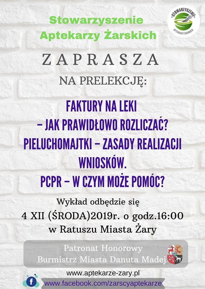 Ilustracja do informacji: Stowarzyszenie Aptekarzy Żarskich zaprasza
