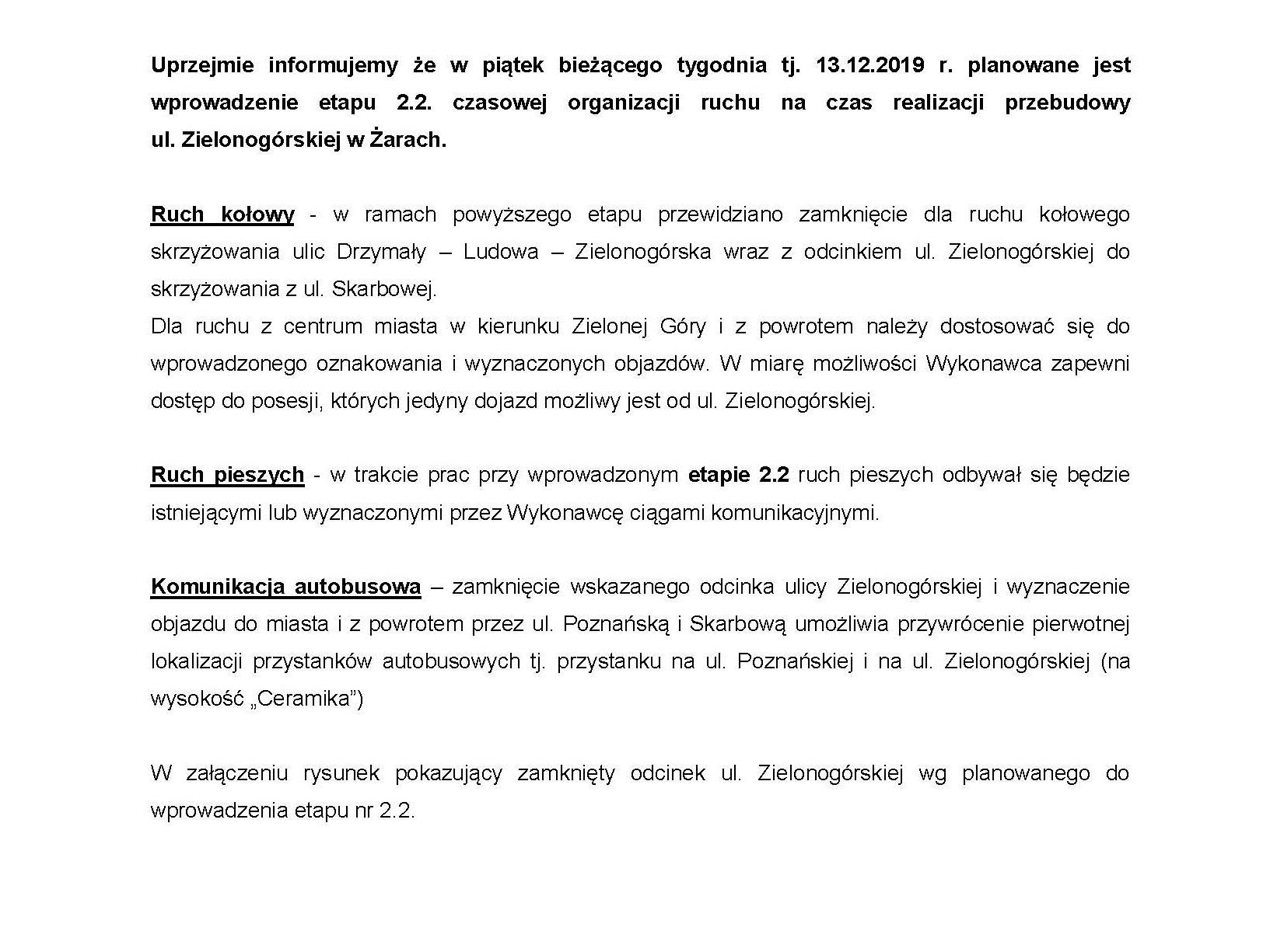 Ilustracja do informacji: Zmiana organizacji ruchu na ulicy Zielonogórskiej
