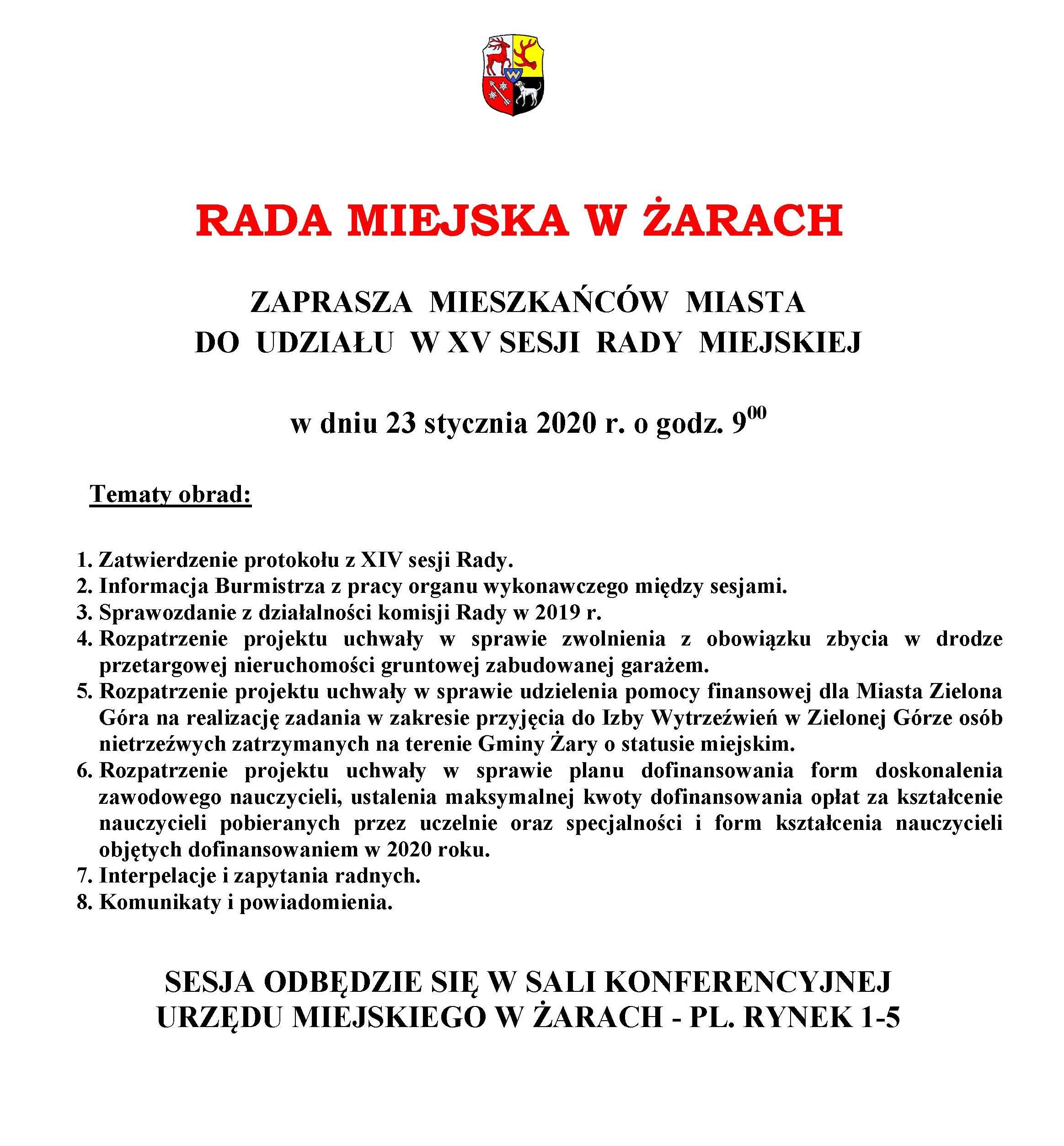 Ilustracja do informacji: Zaproszenie na XV sesję Rady